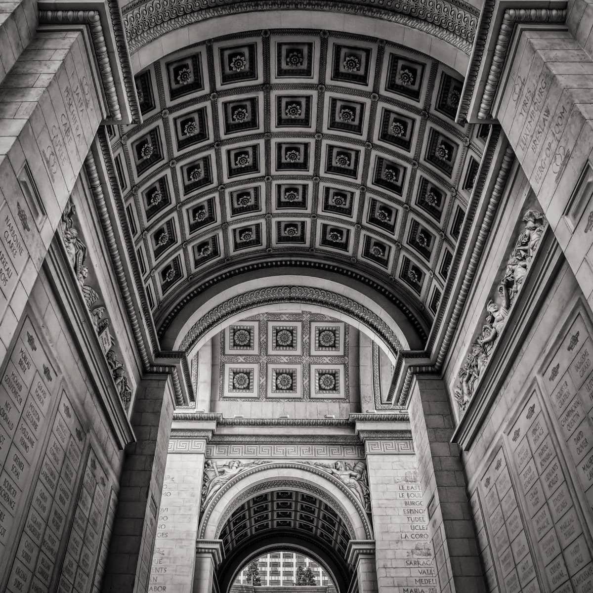Architectural detail of the replica Arc de Triomphe at Paris Hotel & Casino in Las Vegas.