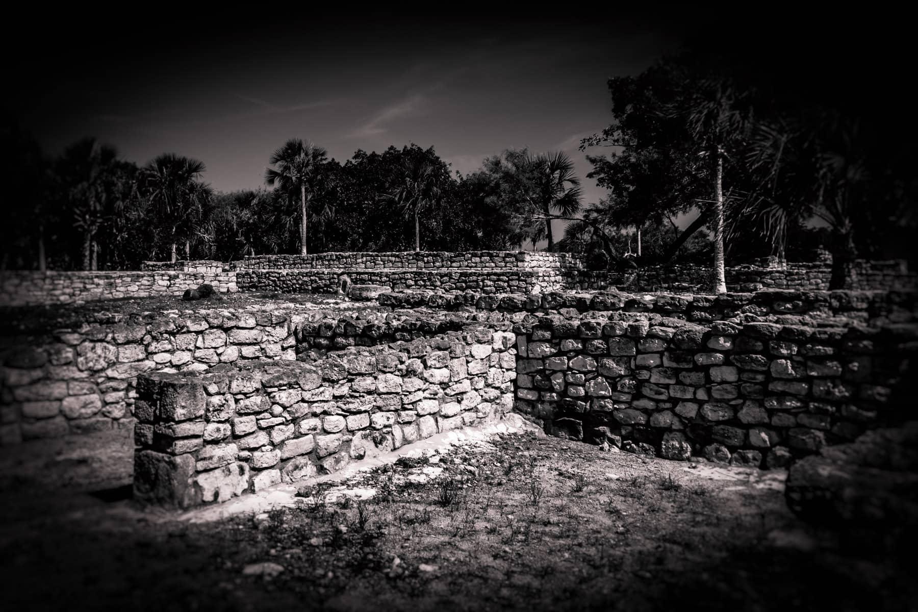 Rock walls at the ruins of the Mayan city of Xcambo in Mexico's Yucatan.