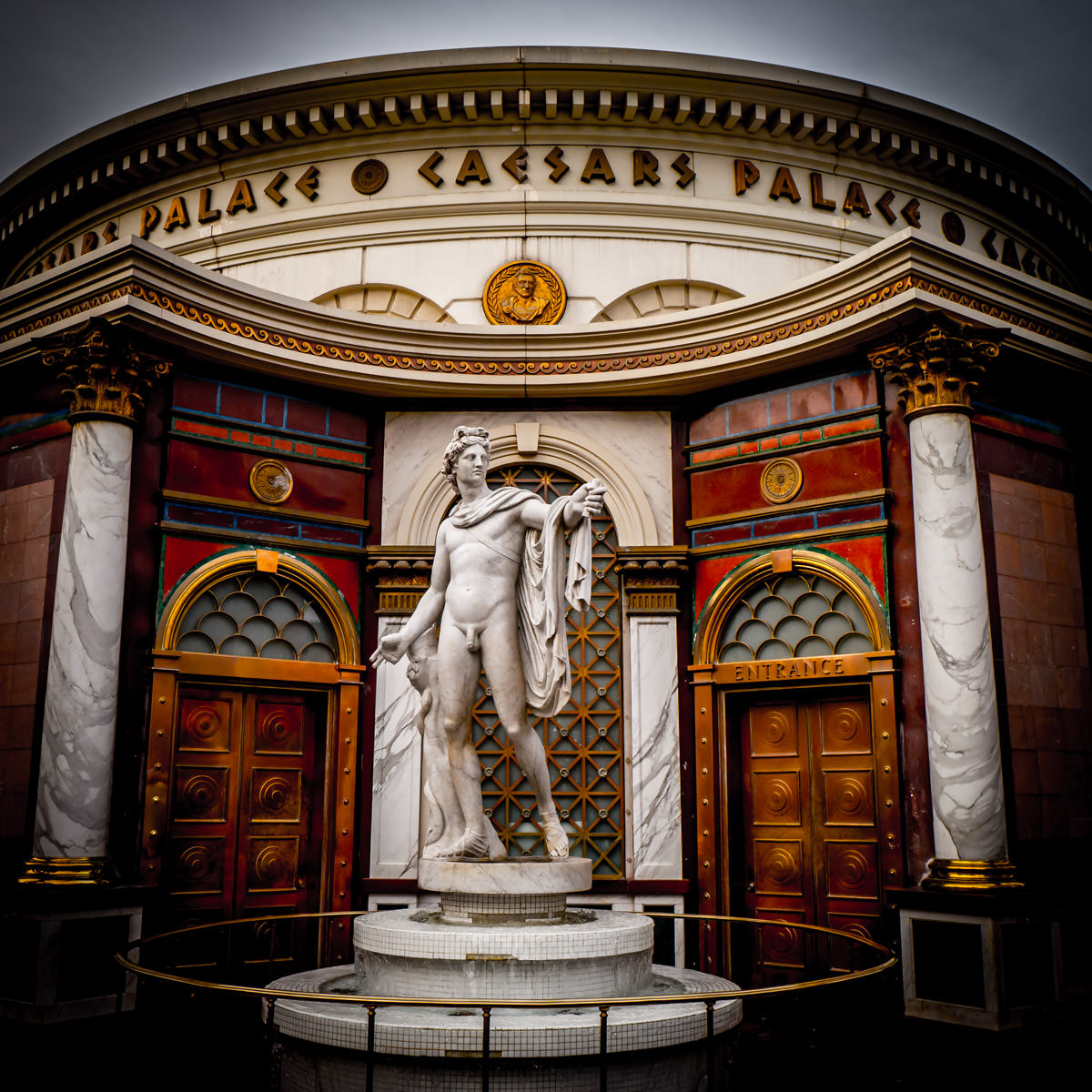 A statue stands outside of Caesars Palace, Las Vegas.