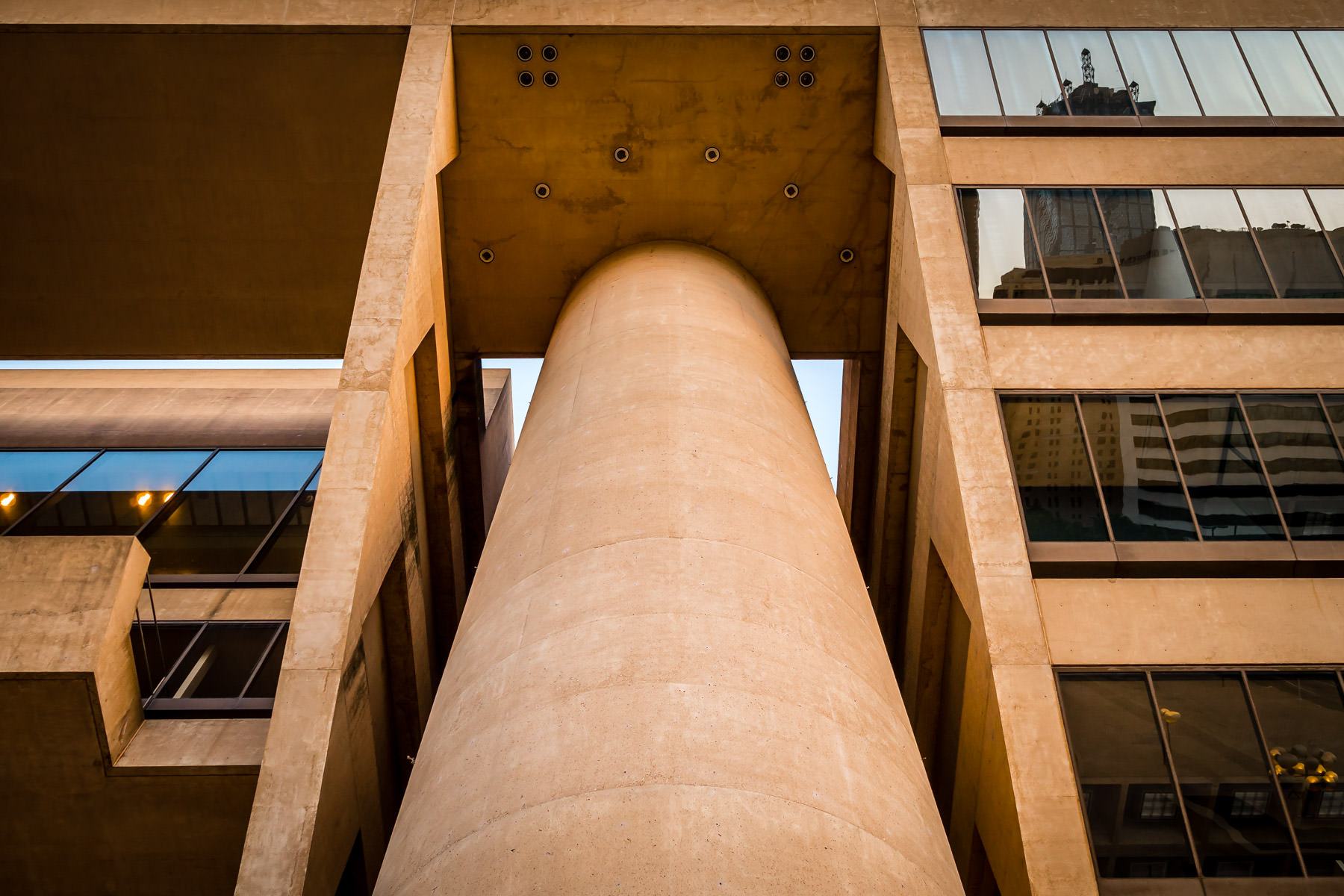Architectural detail of the I.M. Pei-designed Dallas City Hall.