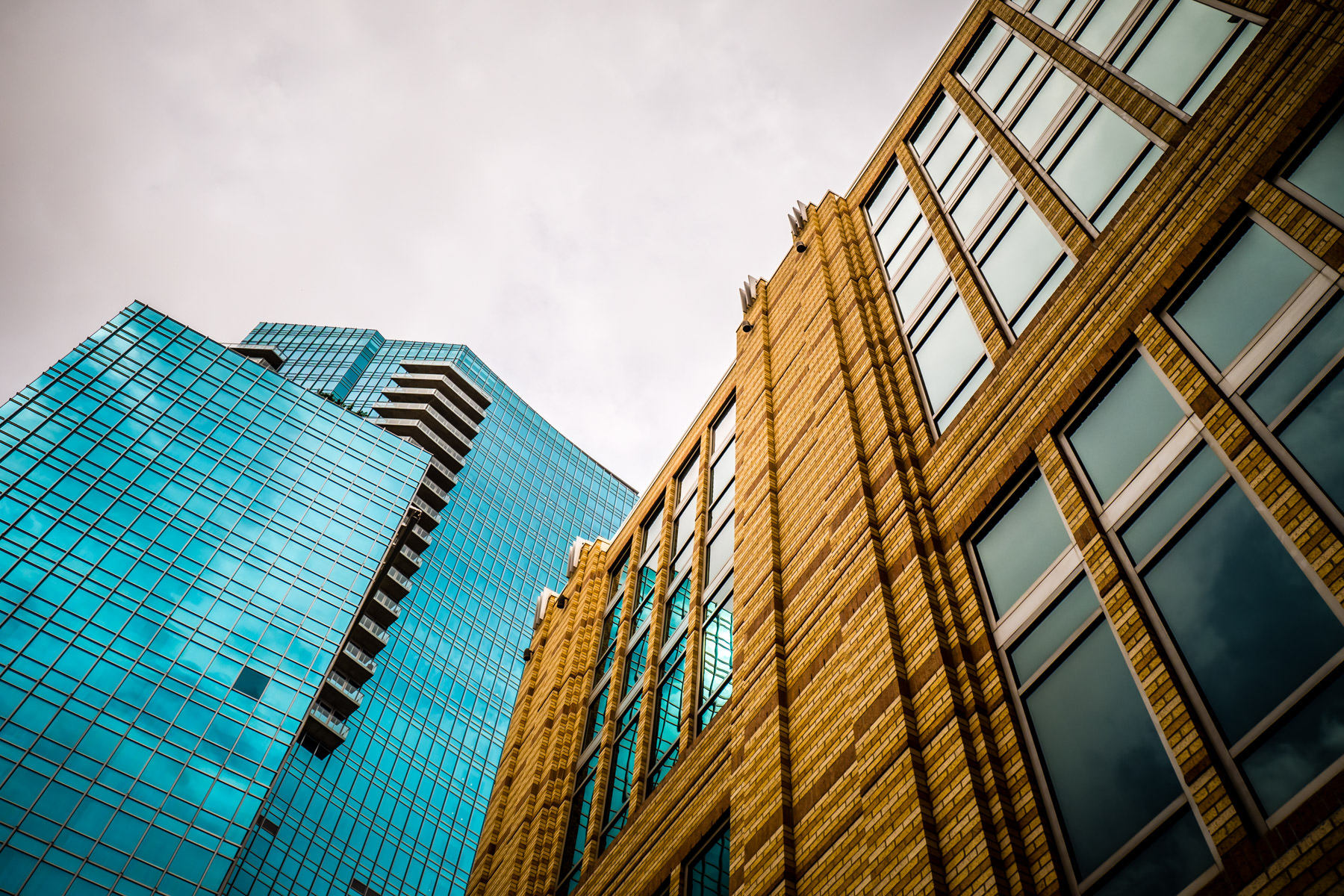 The Omni Fort Worth Hotel rises over the city's convention center in Downtown Fort Worth, Texas.