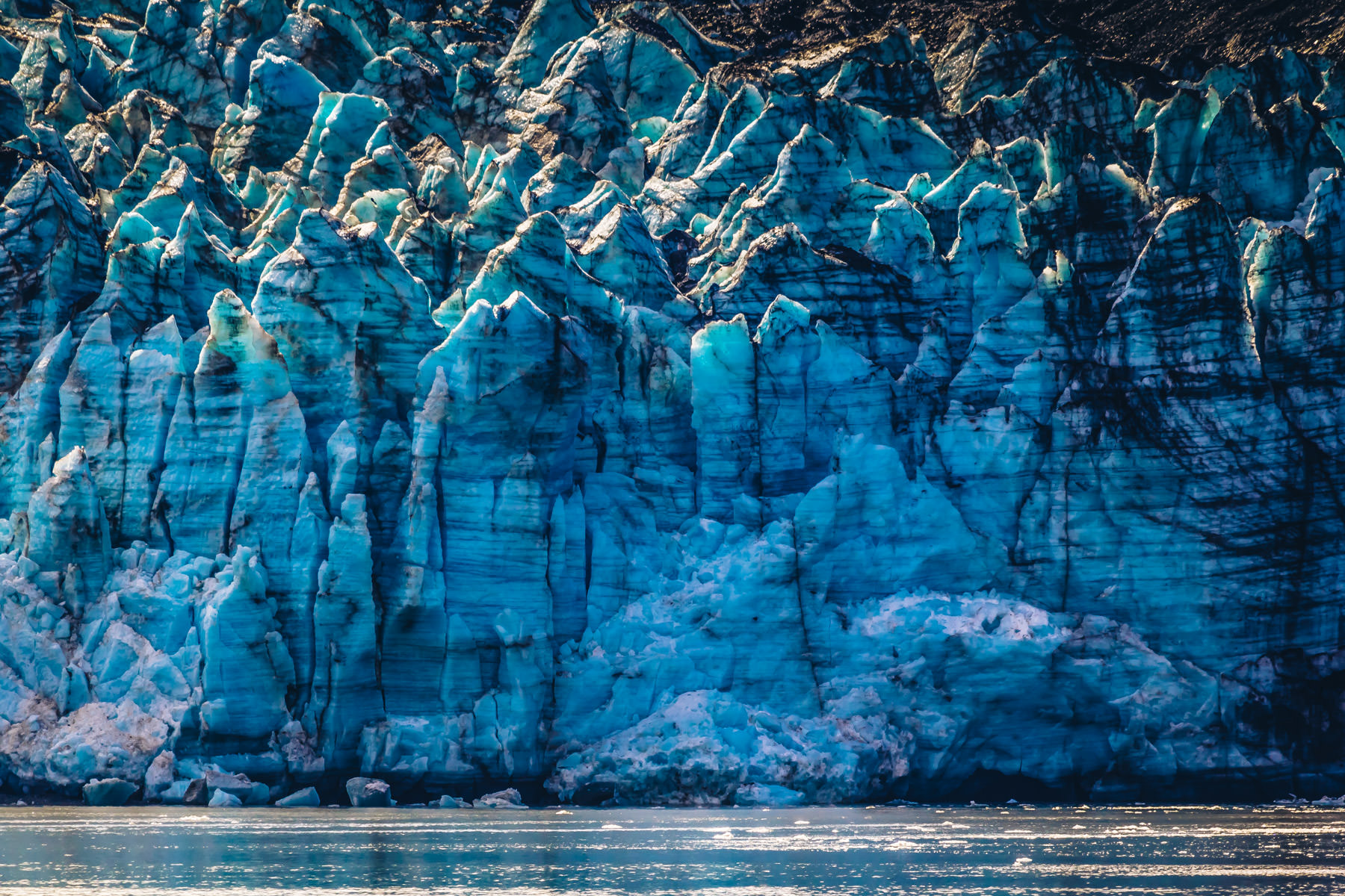 Detail of the 250-foot-tall face of Alaska's Margerie Glacier at Glacier Bay National Park.