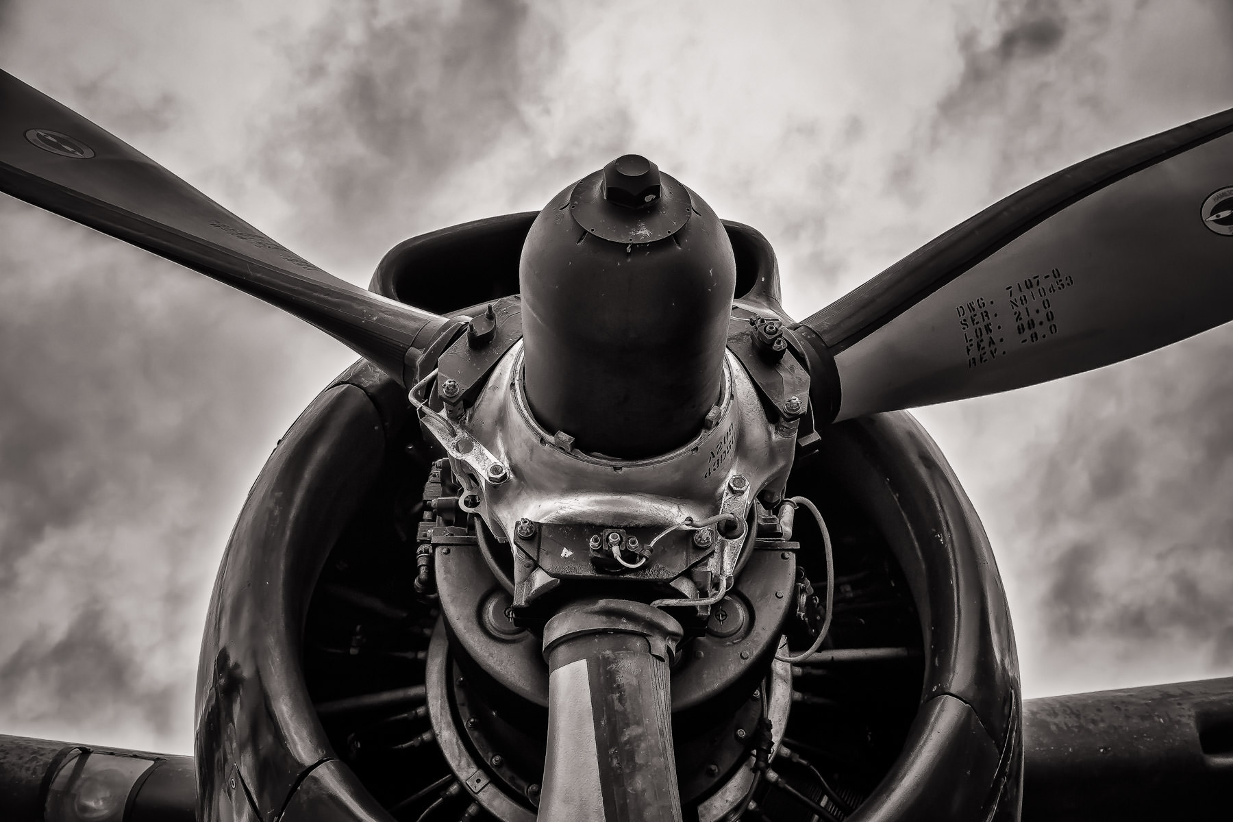 Detail of one of the two Pratt & Whitney R-2000 Twin Wasp 14-cylinder engines on a DHC-4 Caribou on display at Addison, Texas' Cavanaugh Flight Museum.
