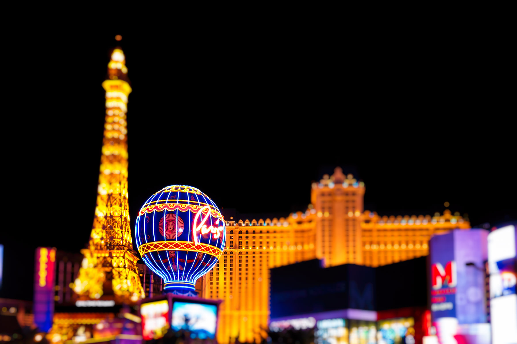 Las Vegas' Paris Hotel & Casino lights up the night along The Strip.