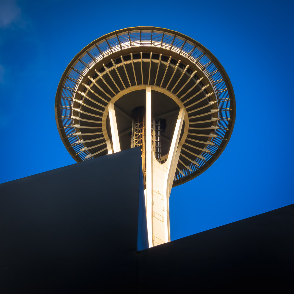 The iconic Space Needle rises into the clear blue sky over Seattle.