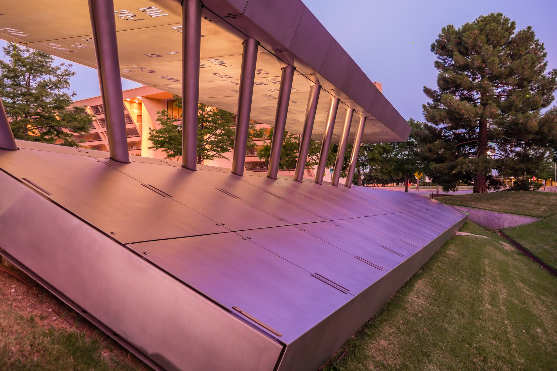 Dusk settles on Dallas' memorial to the 80 police officers that have died in the line of duty since the Dallas Police Department was formed in 1892.