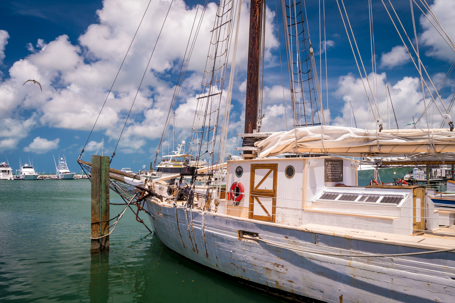 The schooner Western Union—the flagship of the State of Florida—sits at her berth in the Key West Bight on a warm, cloudy Spring day.
