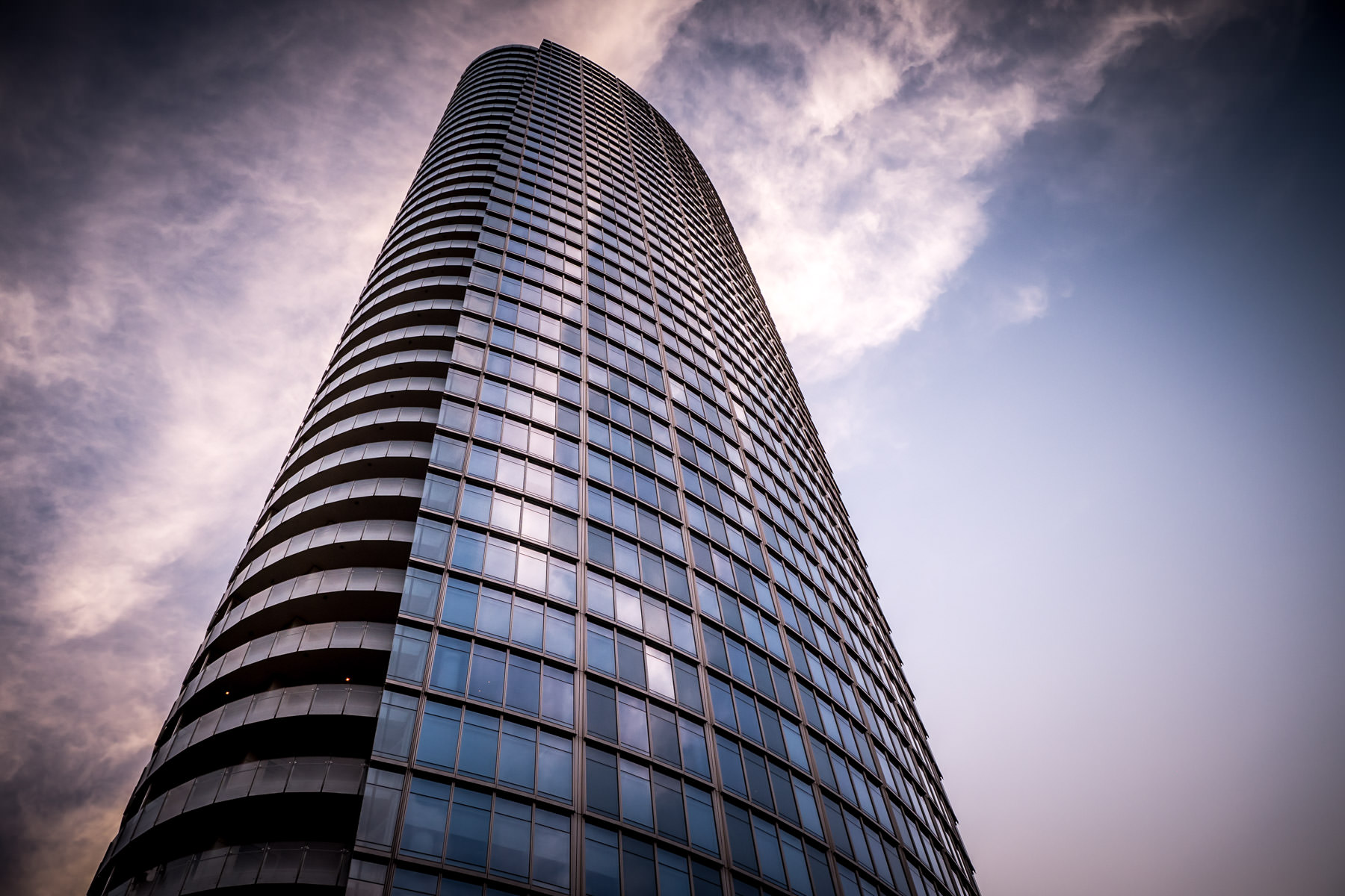 Dallas' Museum Tower rises into the sky over the Dallas Arts District.
