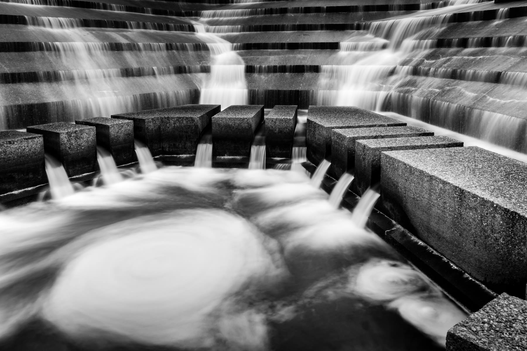 A maelstrom forms in the Active Pool at the Philip Johnson-designed Fort Worth Water Gardens in the south end of Downtown Fort Worth, Texas.