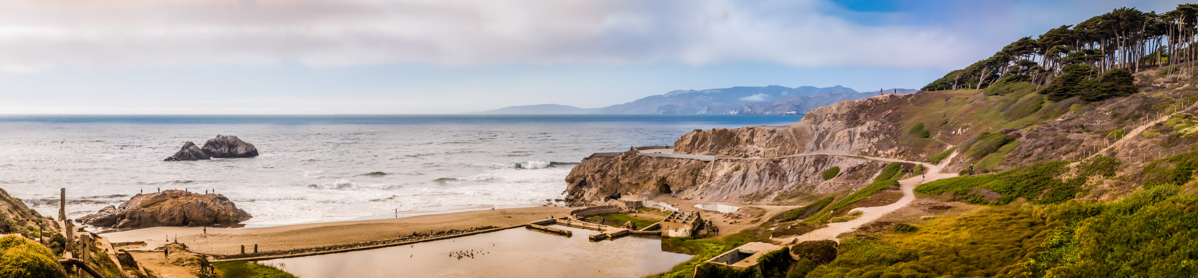 The ruins of San Francisco's Sutro Baths, once the world's largest indoor swimming pool, lie near Seal Rock at Lands End.