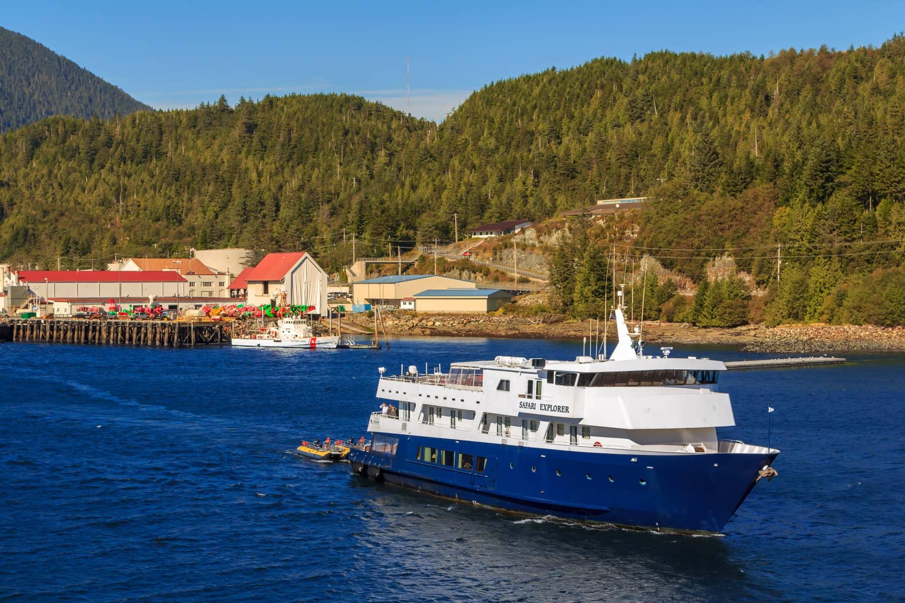 Un-Cruise Adventures' small cruise ship Safari Explorer sails the Tongass Narrows at Ketchikan, Alaska.
