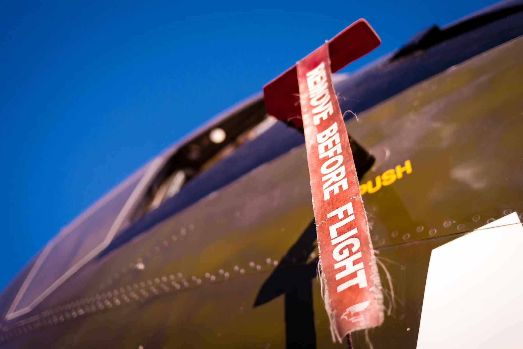 A warning flag on a pitot tube of a De Havilland CV-2B Caribou in the collection of Addison, Texas' Cavanaugh Flight Museum.