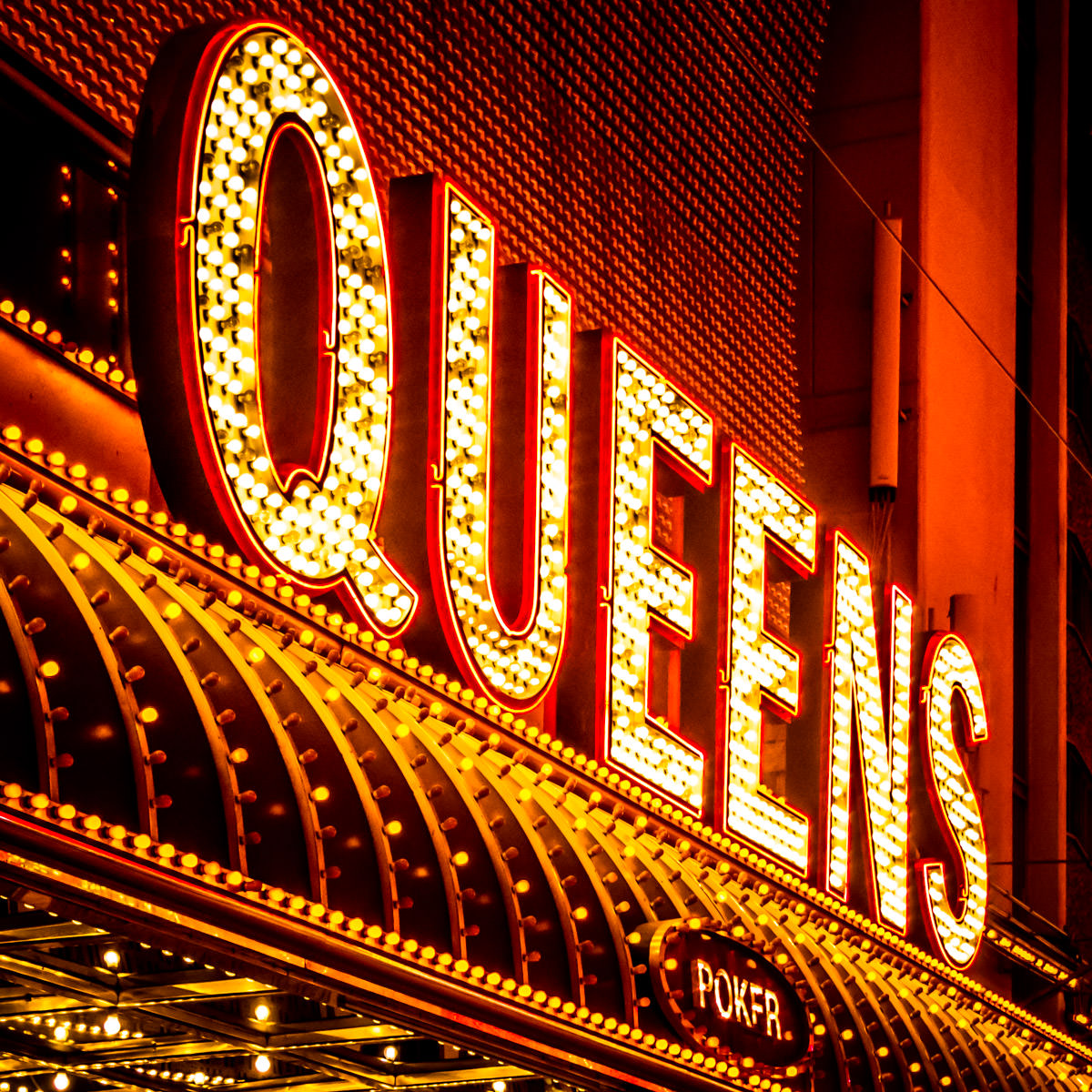 Detail of one of the signs for the Four Queens Hotel and Casino in Downtown Las Vegas.