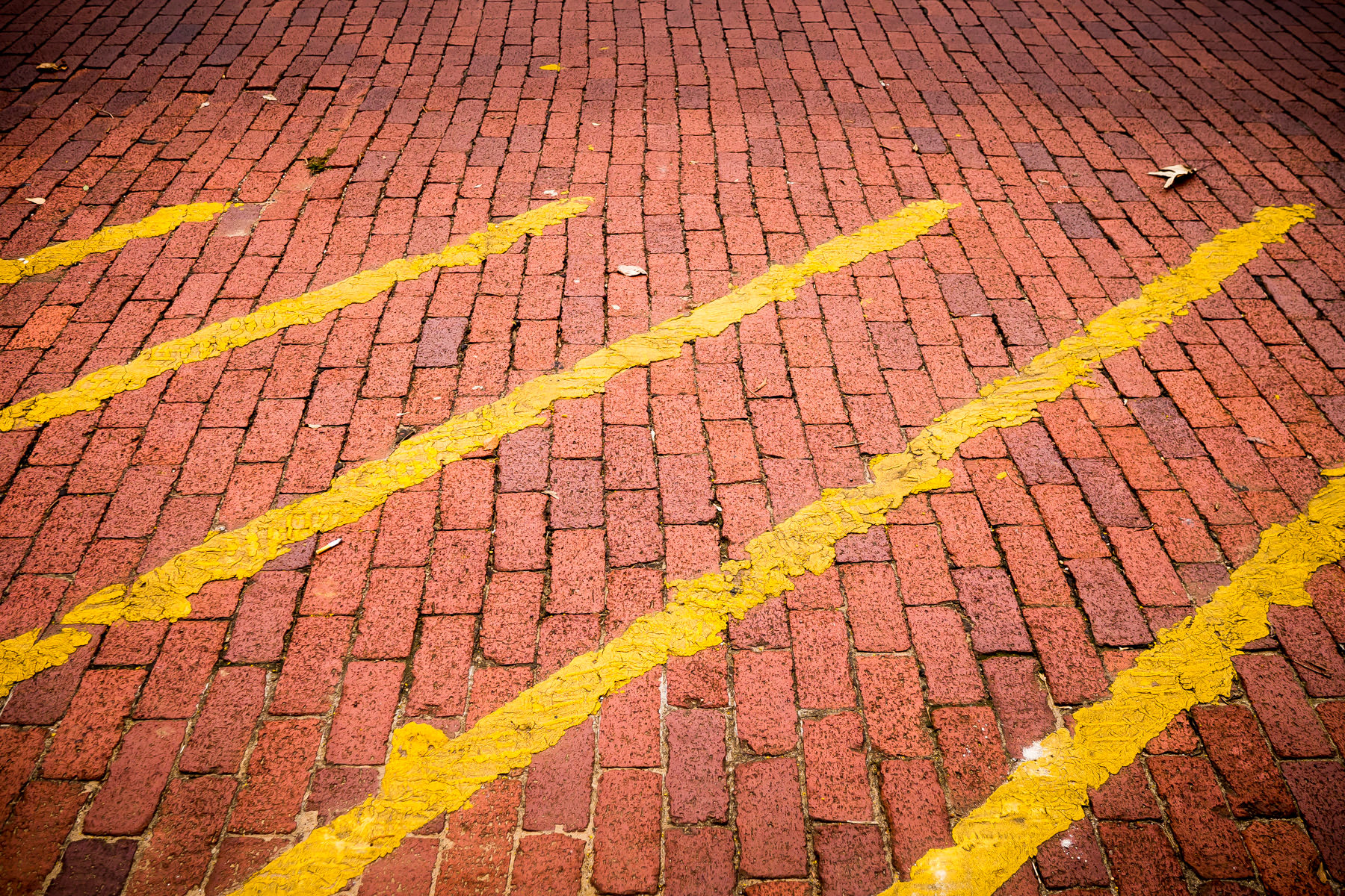 Yellow stripes painted sloppily on a brick street in Downtown Nacogdoches, Texas.