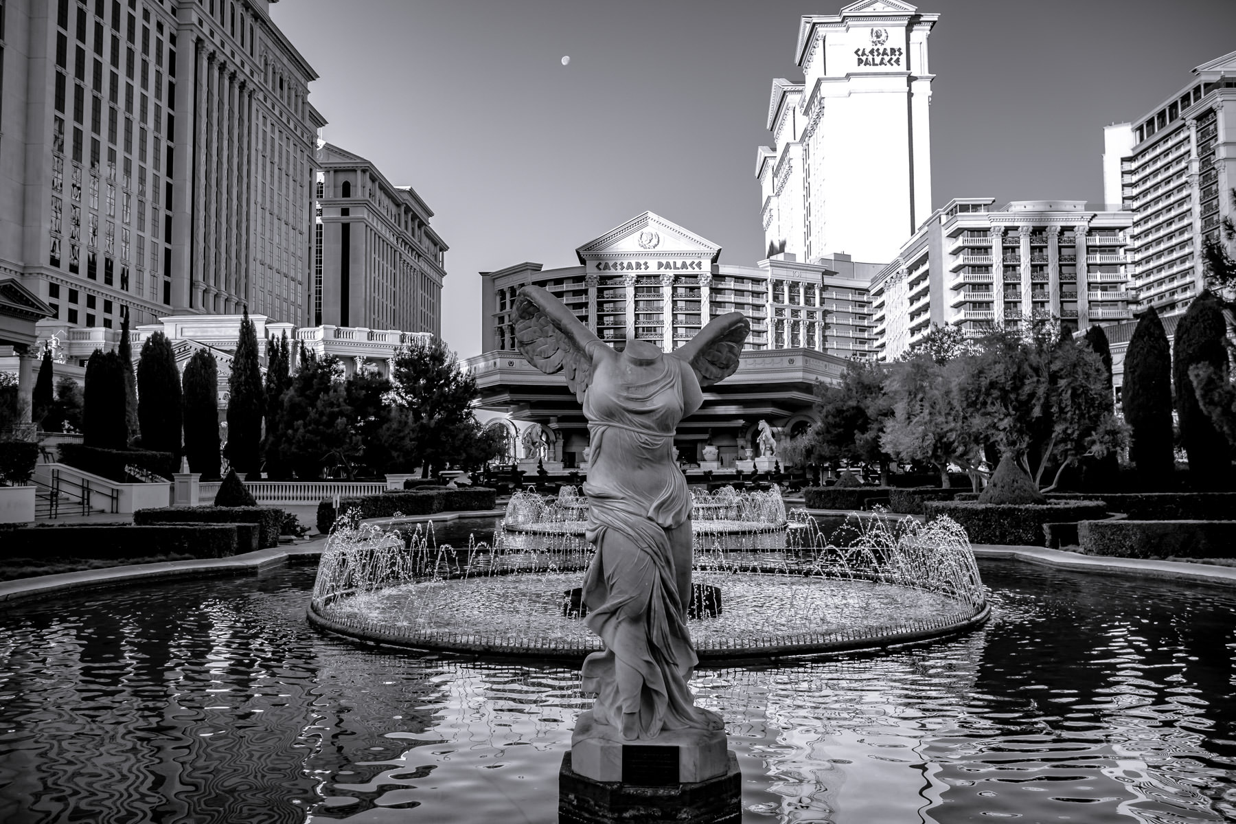 A headless statue sits in front of Las Vegas' Caesars Palace.