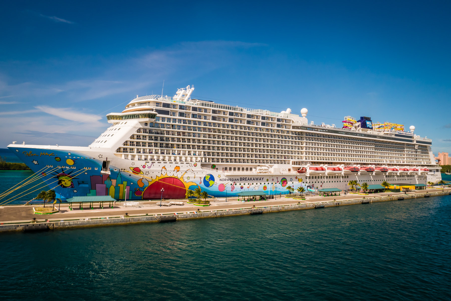Norwegian Cruise Lines' 325 meter (1,069 ft) long cruise ship Norwegian Breakaway, docked in Nassau, Bahamas.