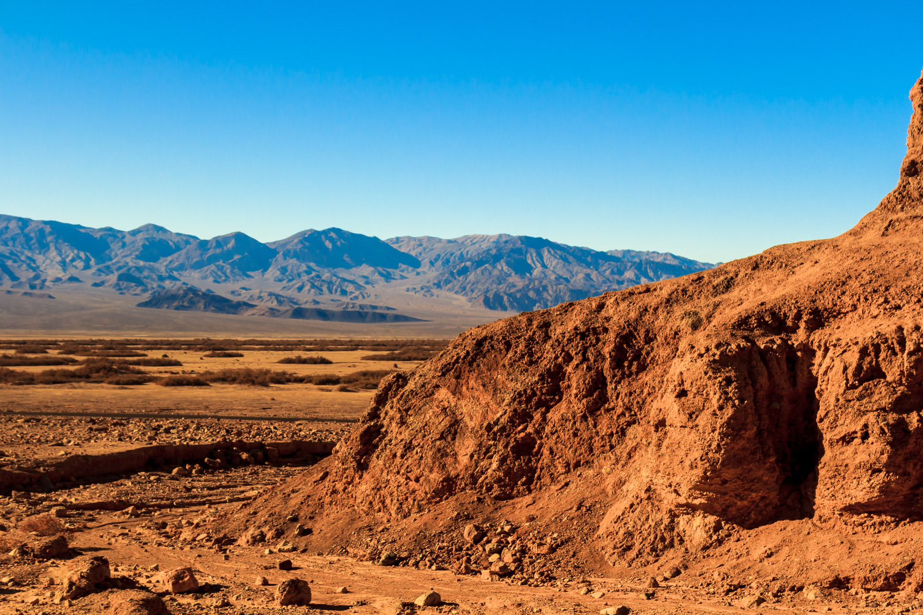 A reddish-brown landscape in California's Death Valley resembles a desolate view of Mars.