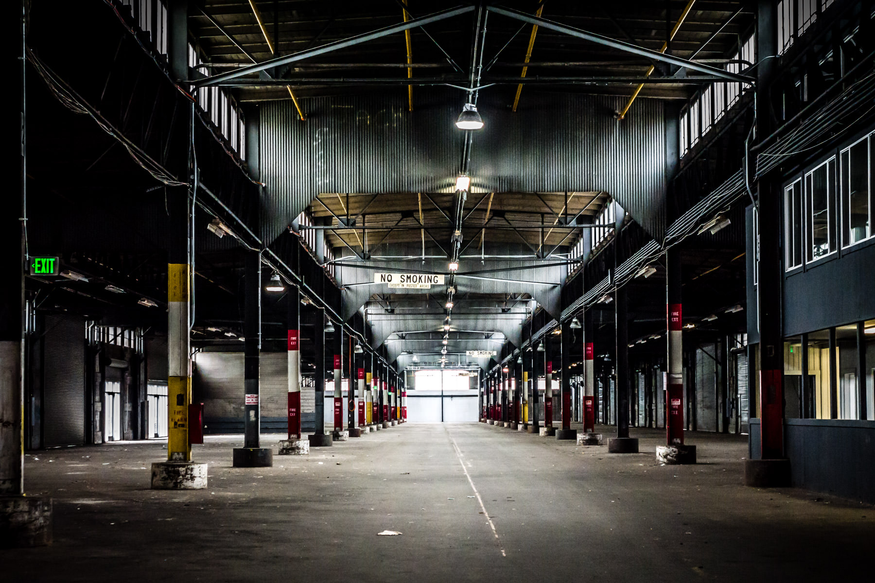 The empty interior of San Francisco's Pier 23 as seen from the main entrance along The Embarcadero.