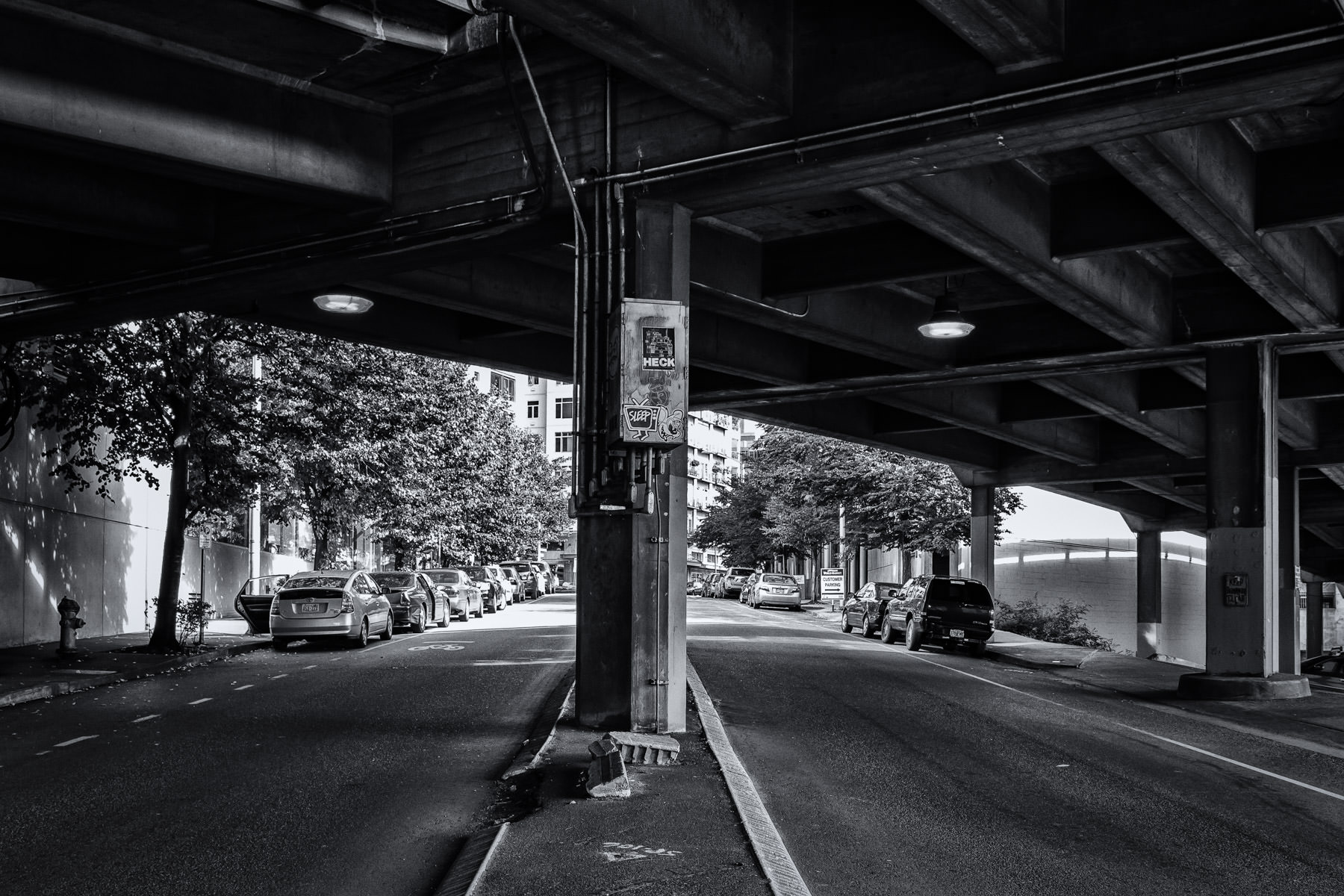 Seattle's Blanchard Street passes under the Alaskan Way Viaduct in the city's Belltown neighborhood.
