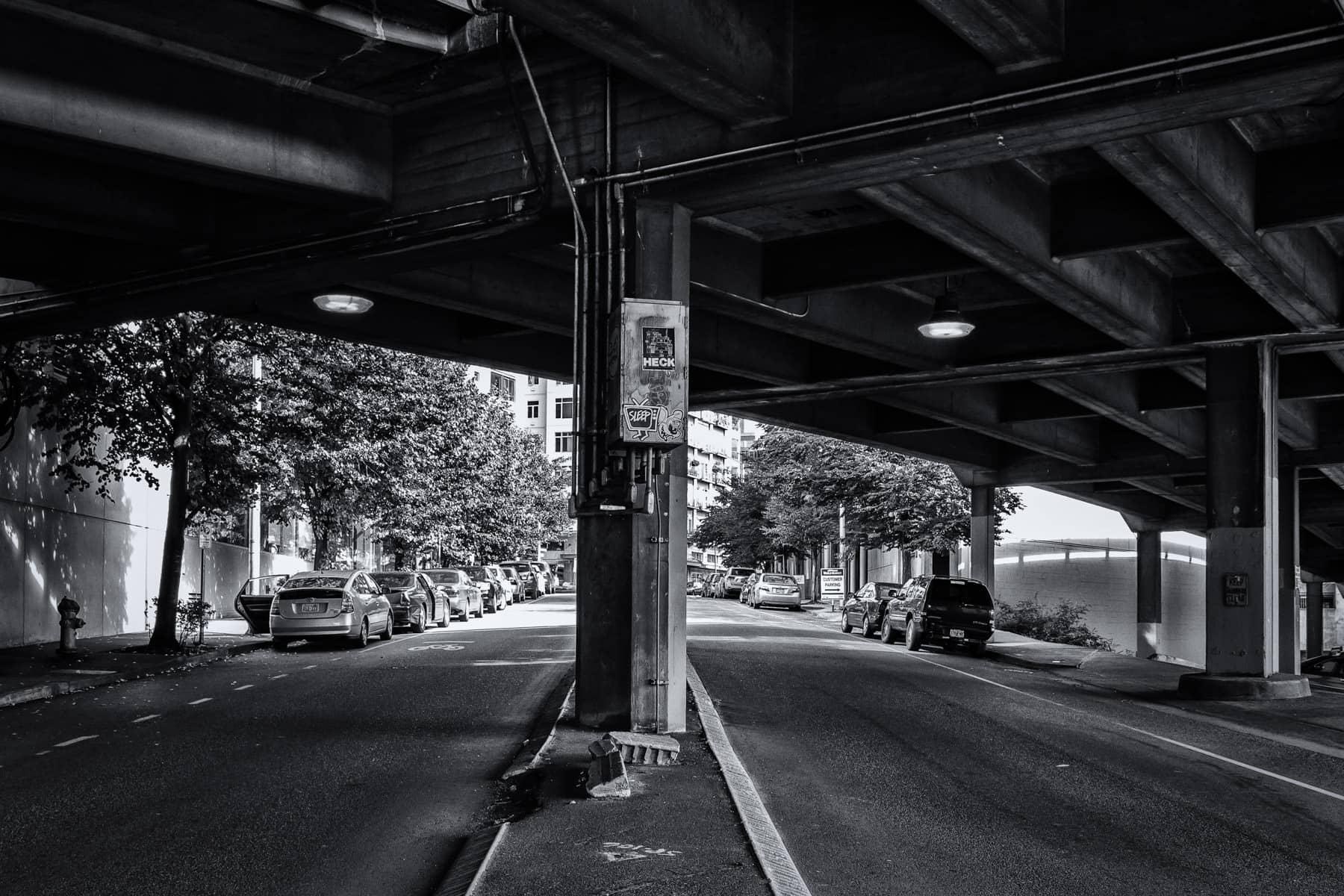 Seattle's Blanchard Street passes under the Alaskan Way Viaduct in the city's Belltown neighborhood.
