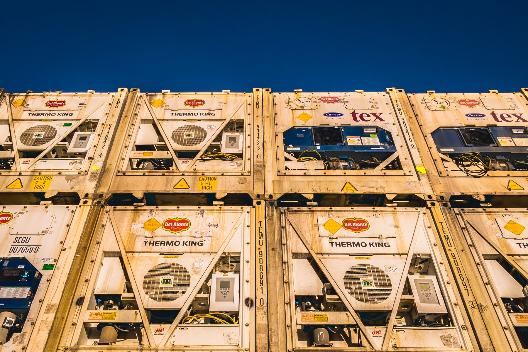 "Del Monte refrigerated shipping containers (or ""reefers""), stacked at Del Monte's port facility in Galveston, Texas."
