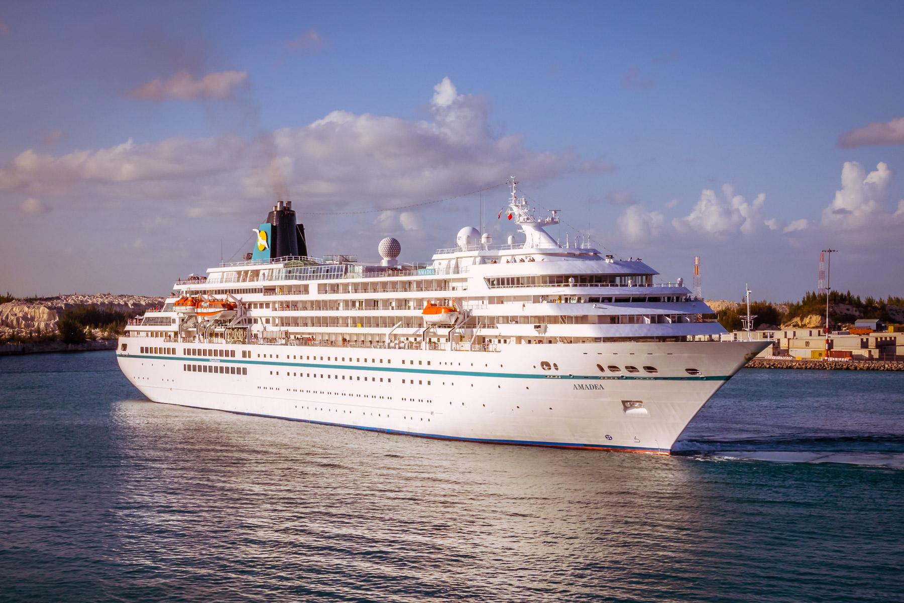 The MS Amadea sets sail from Freeport Harbour in The Bahamas.