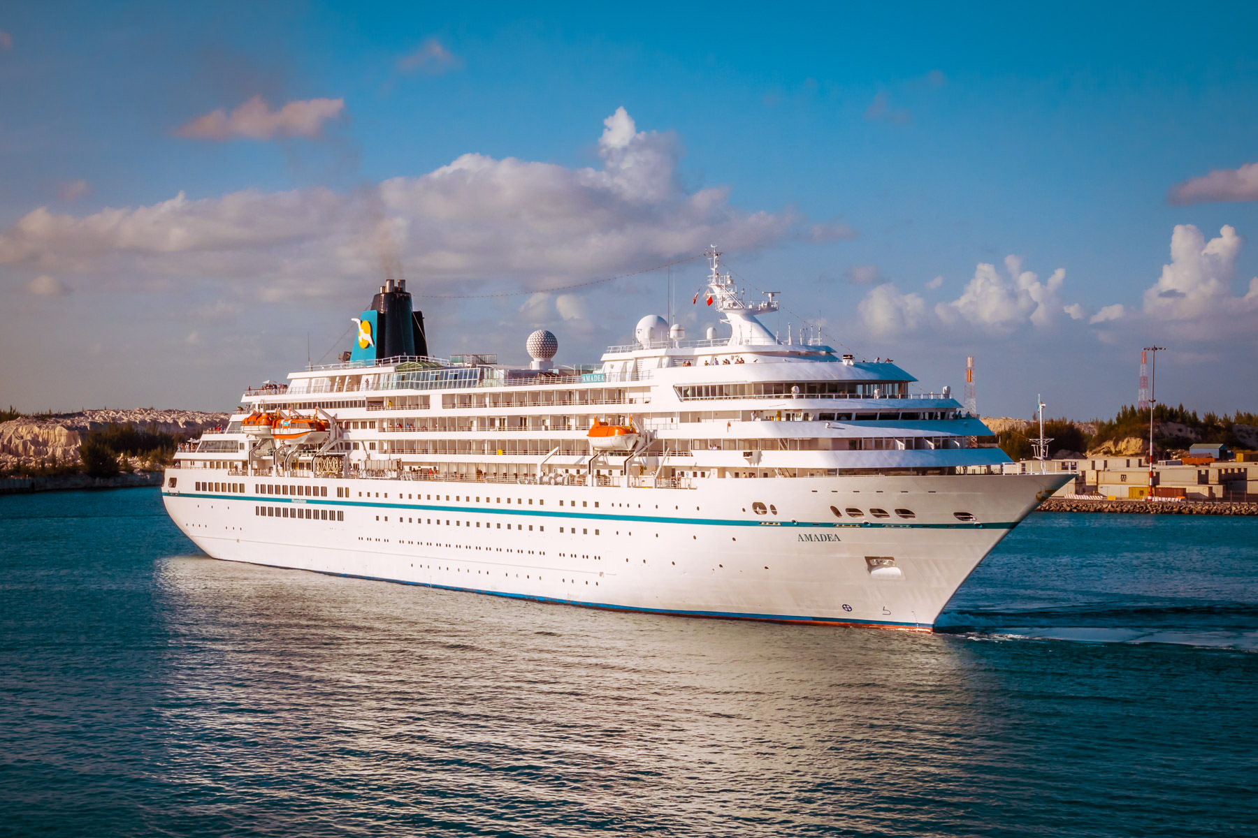 The MSAmadea sets sail from Freeport Harbour in The Bahamas.