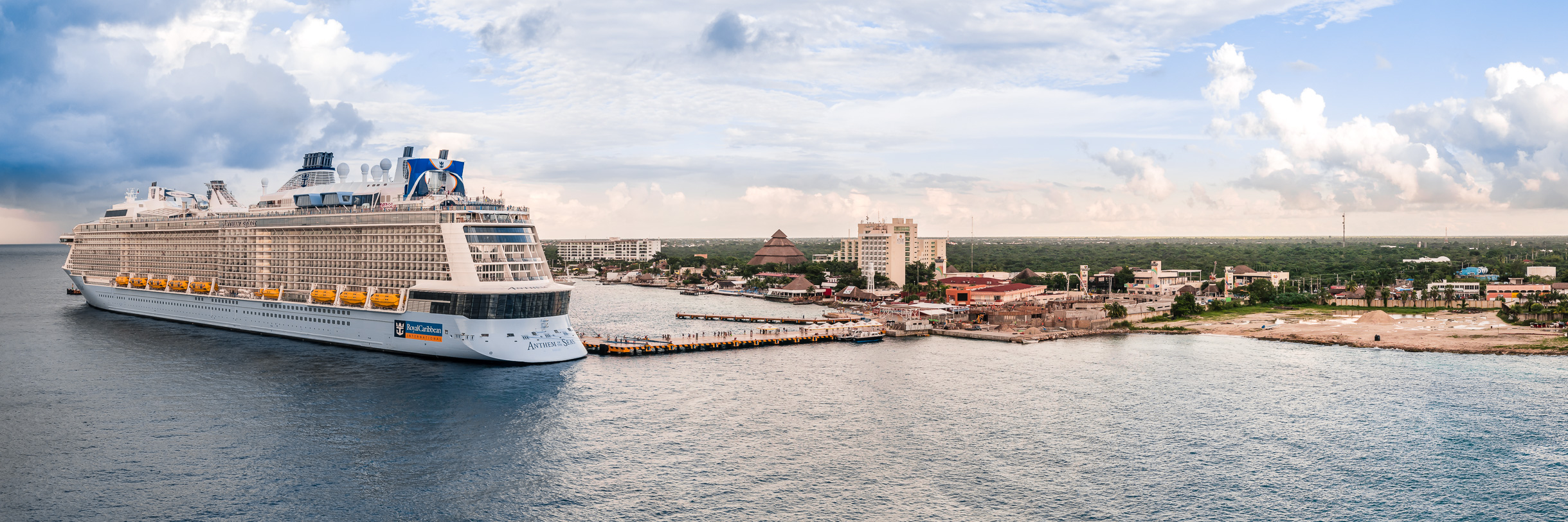 Royal Caribbean's cruise shipAnthem of the Seas docked in Cozumel, Mexico, as a late afternoon storm approaches the island.
