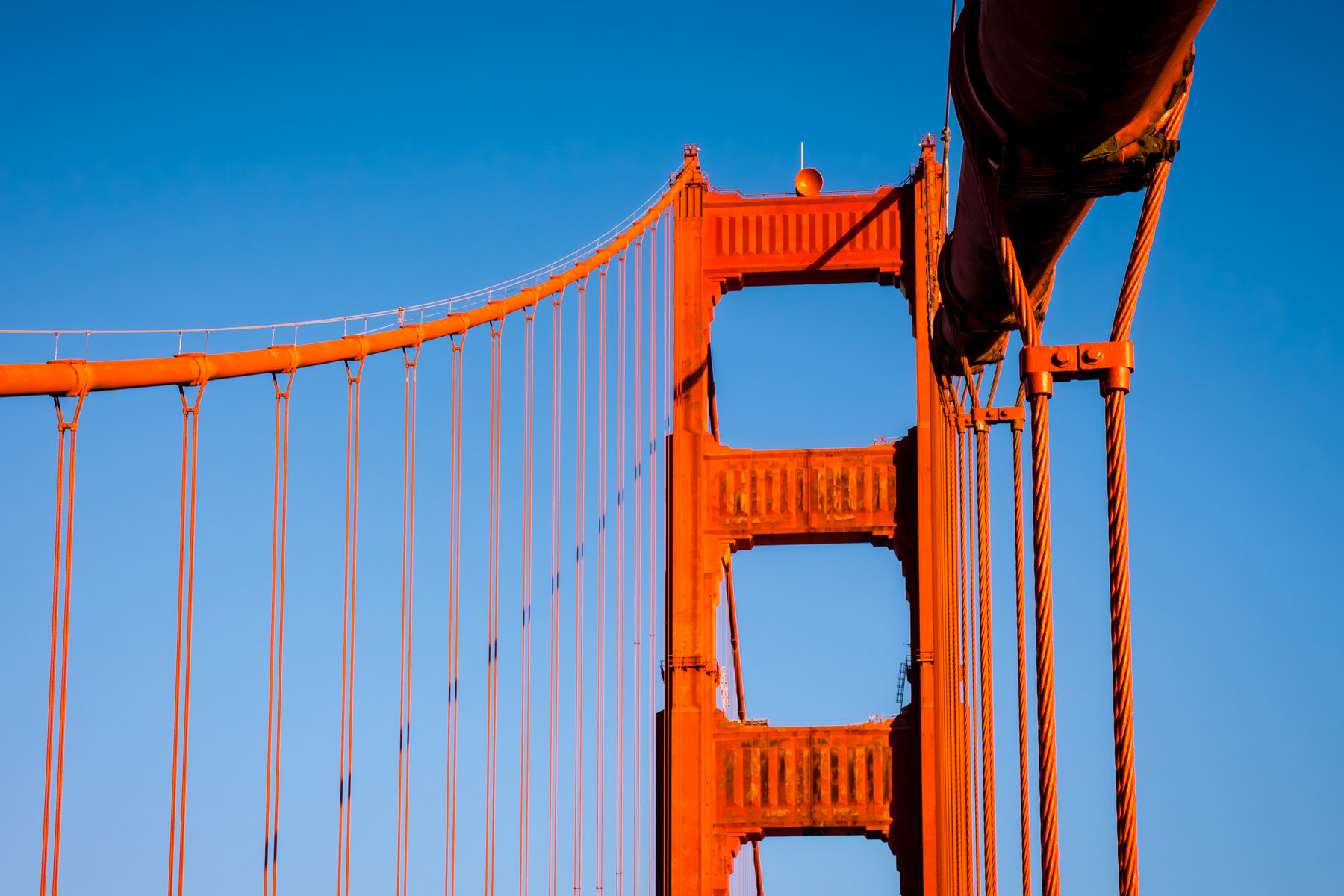 The main suspension cables of San Francisco's Golden Gate Bridge arch up to their anchors at the top of the bridge's south tower. These cables are 36.5-inches-wide (93 cm) and contain 27,572 individual wires.