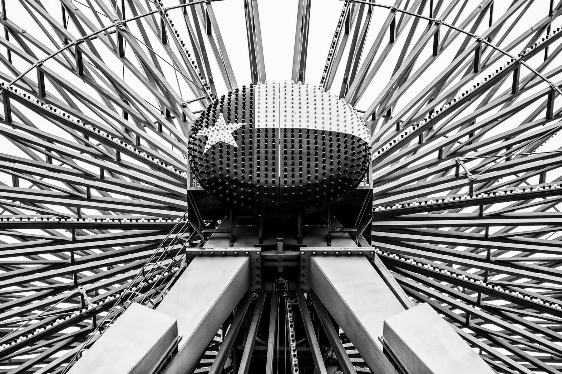 Detail of the center hub of the Texas Star Ferris Wheel in Dallas' Fair Park.