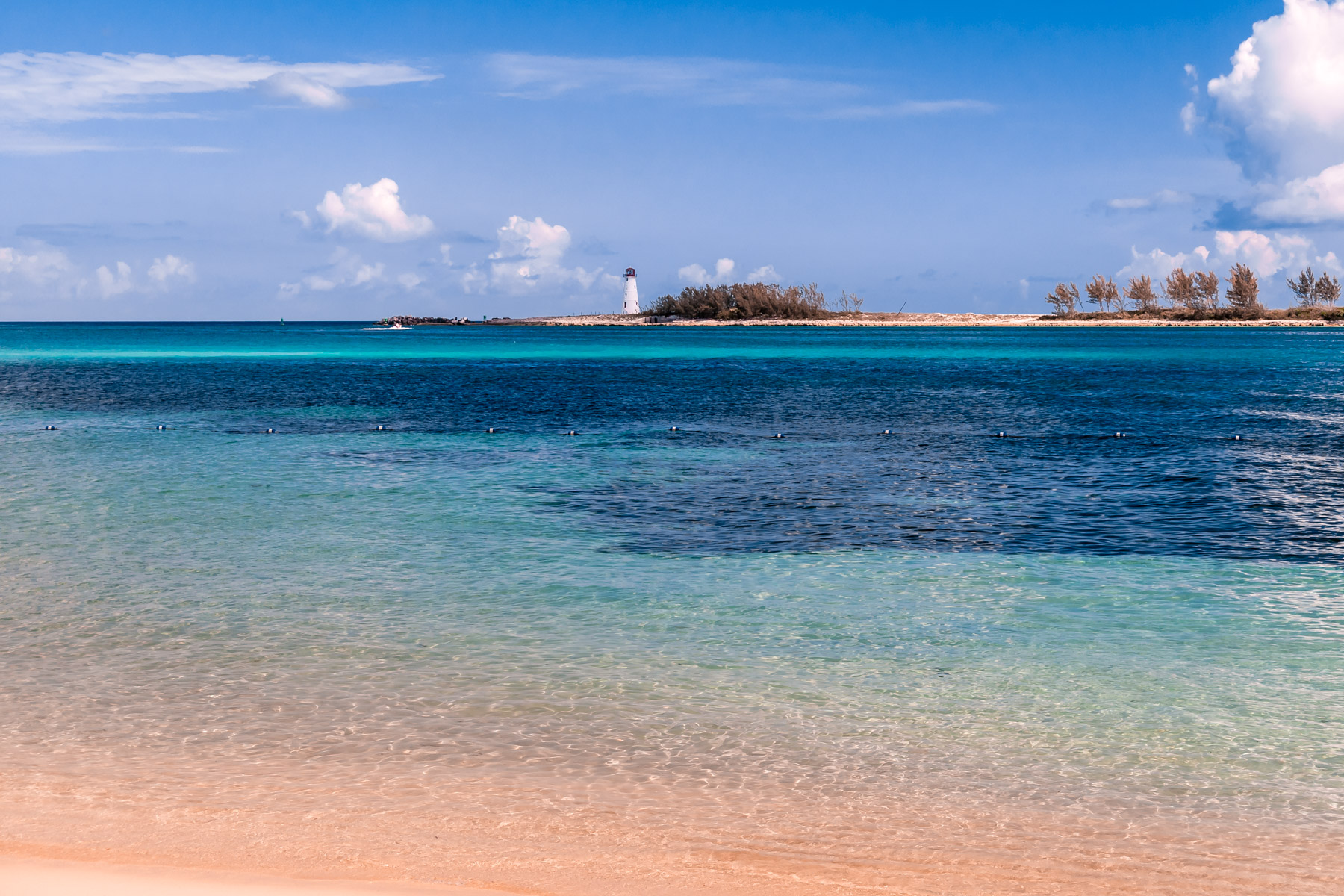 The Bahamas'Nassau Harbour Lighthouse sits abandoned on the western end of Colonial Beach.
