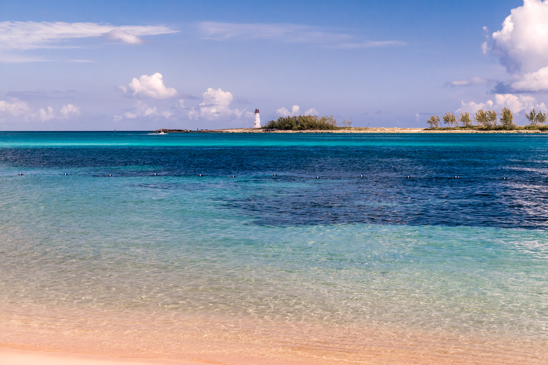The Bahamas' Nassau Harbour Lighthouse sits abandoned on the western end of Colonial Beach.
