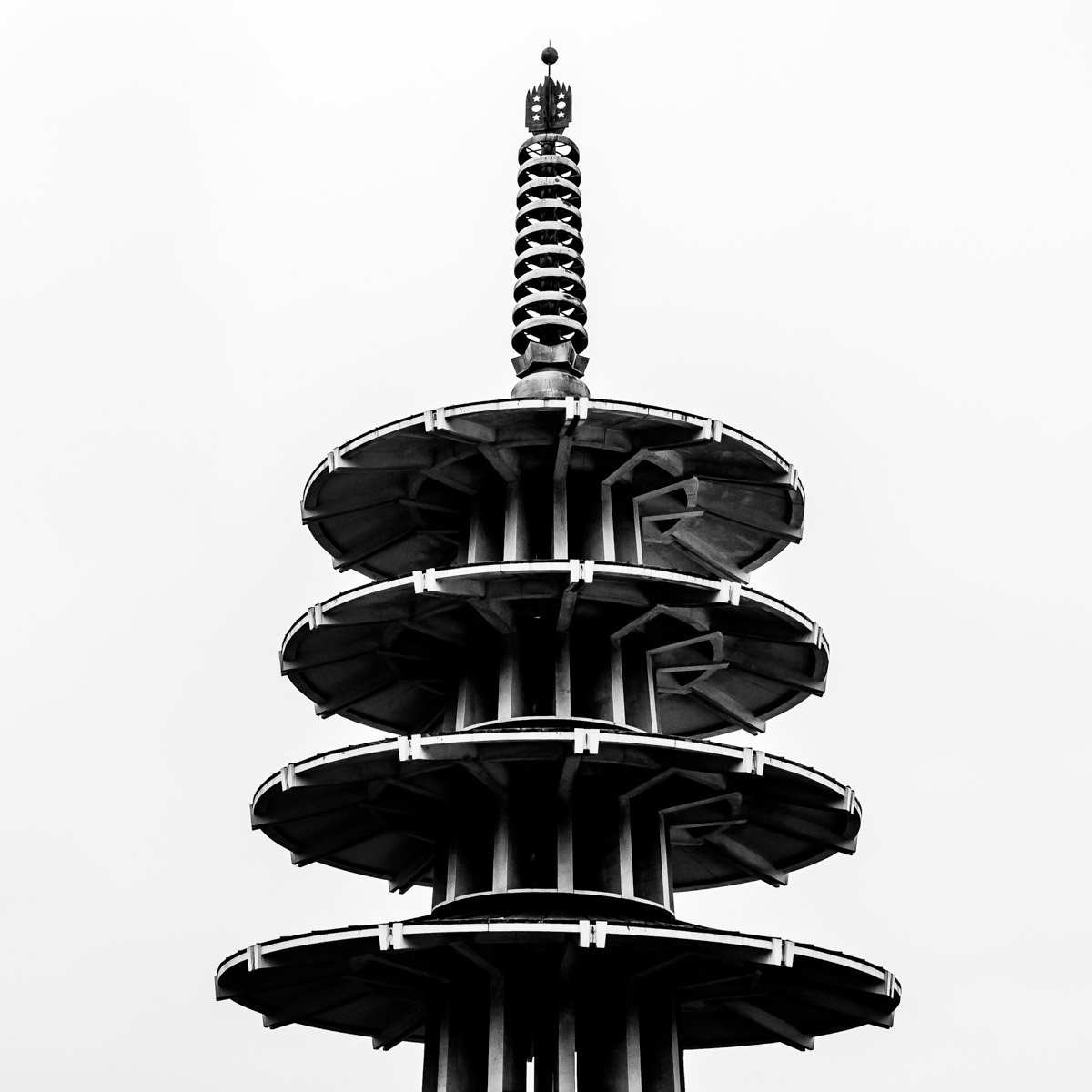 Architectural detail of the modernist Peace Pagoda in San Francisco's Japantown neighborhood.