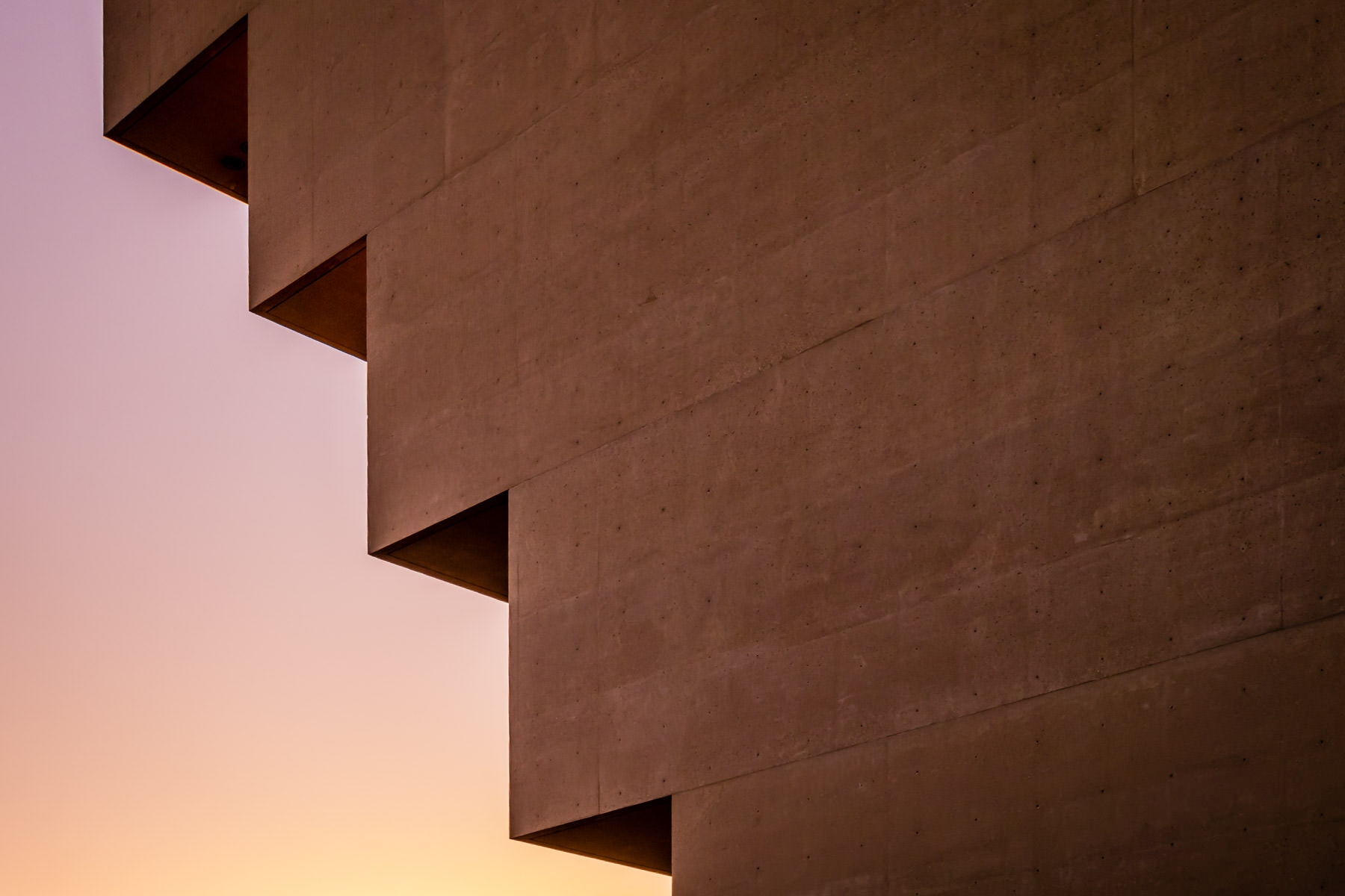 The late-evening sun illuminates this architectural detail of the I.M. Pei-designed Dallas City Hall.