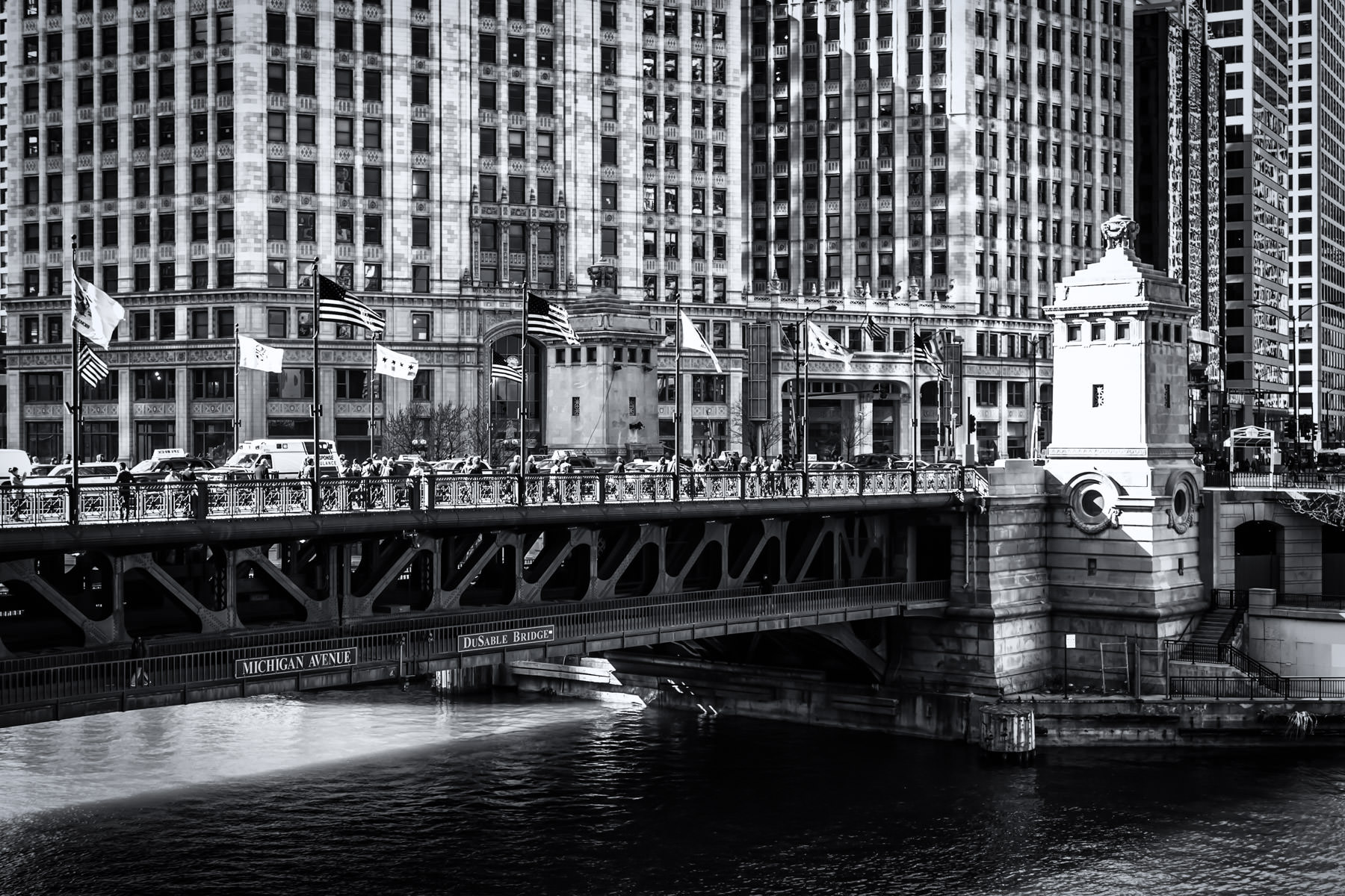 Chicago's busy Michigan Avenue spans the Chicago River on the DuSable Bridge, opened in 1920.