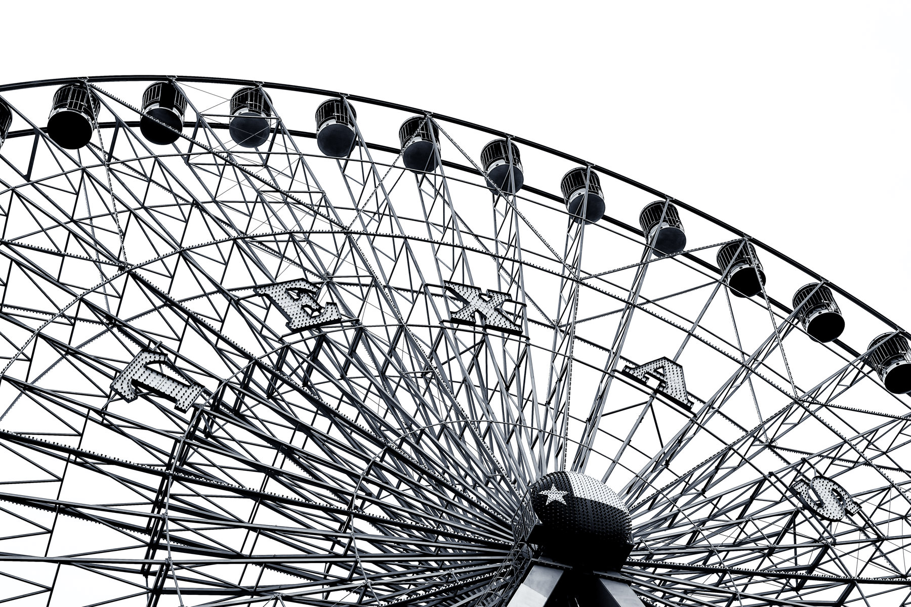 Intricate detail of the Texas Star Ferris Wheel at Dallas' Fair Park.