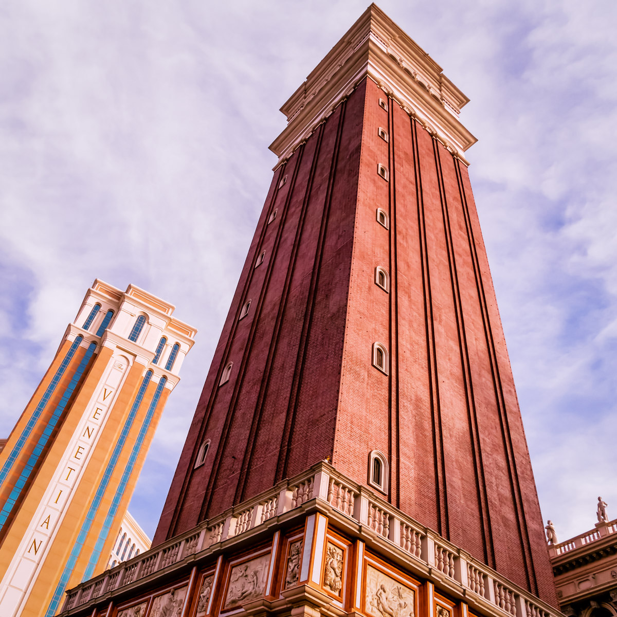 The Venetian Las Vegas' reproduction of Venice's Campanile di San Marco rises into the sky, adjacent to the hotel's main guest tower.