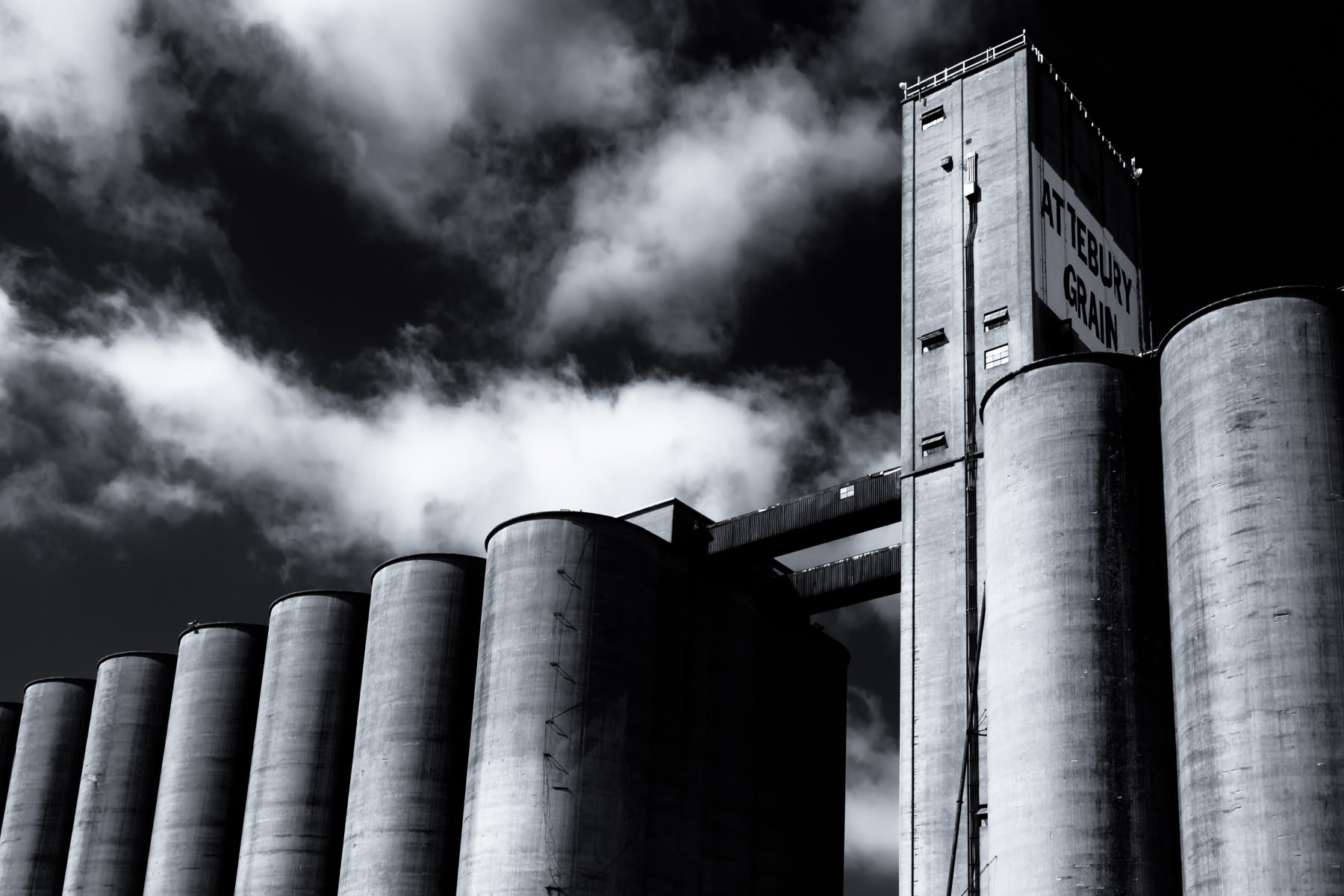 Grain silos rise into the North Texas sky in the Fort Worth-area town of Saginaw.