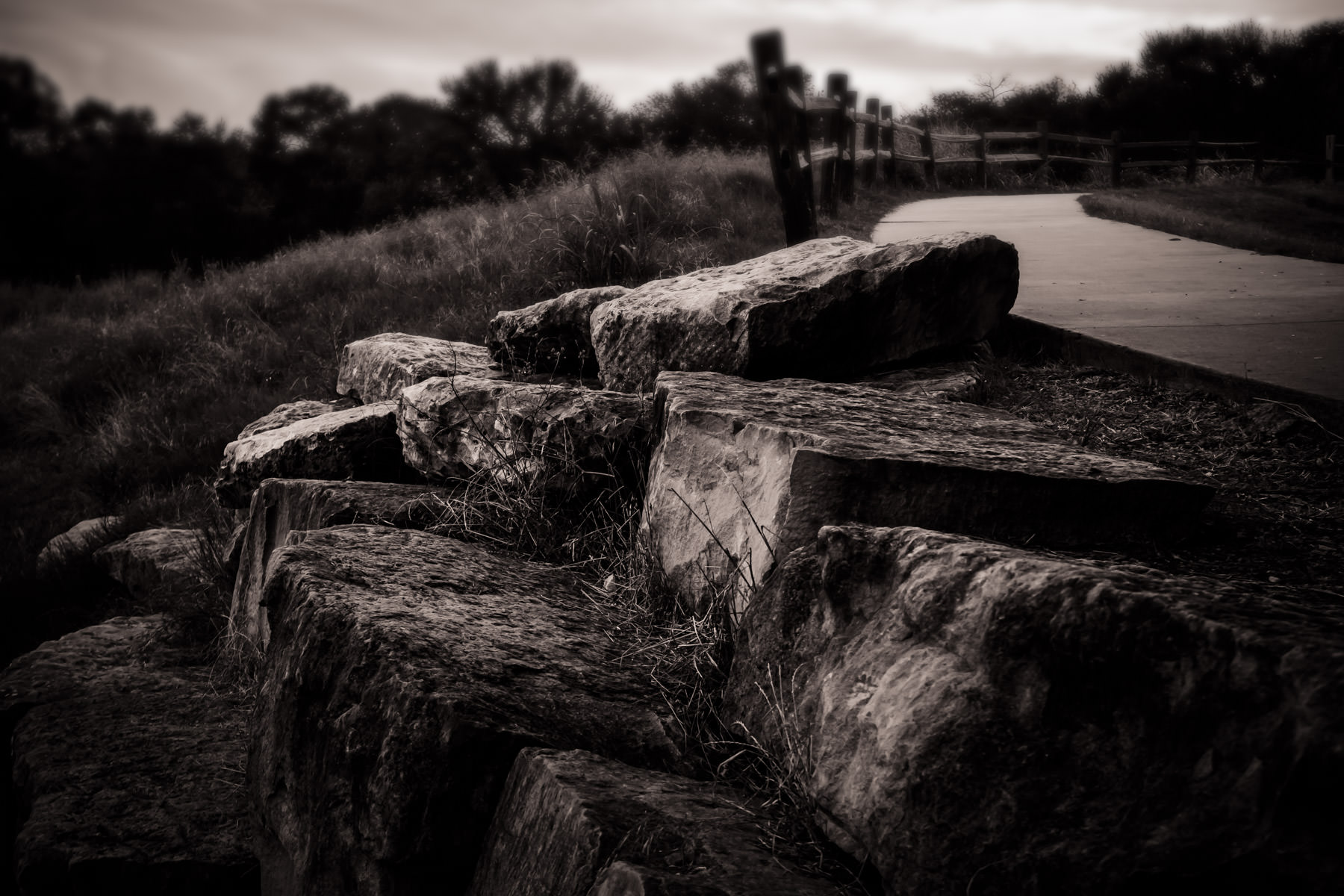 Rocks along a path at the Arbor Hills Nature Preserve in Plano, Texas.