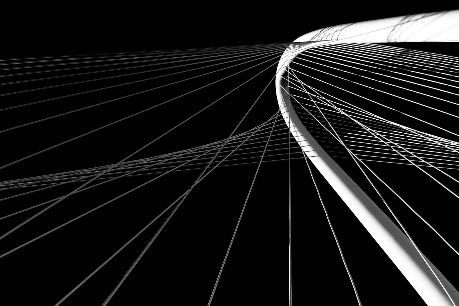 Support cables reach from the arch of the Santiago Calatrava-designed Margaret Hunt Hill Bridge over the Trinity River in Dallas.