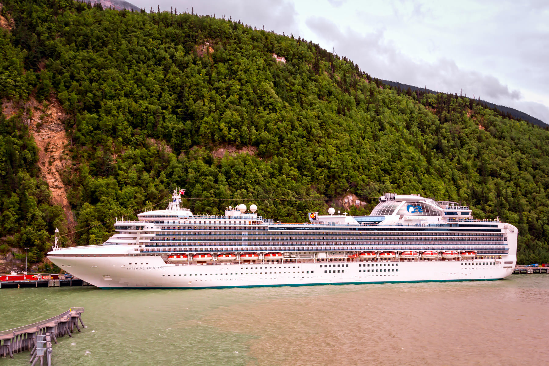 The cruise ship Sapphire Princess, docked in Skagway, Alaska.