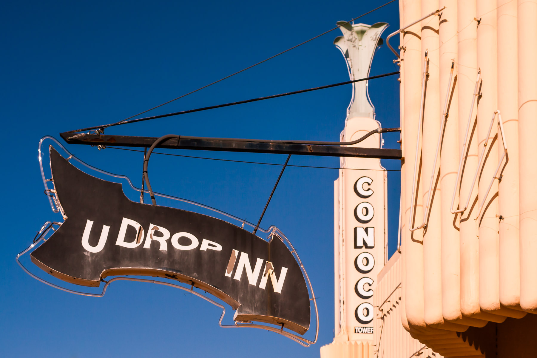 The sign at Shamrock, Texas' historic U-Drop Inn, a well-known stop along Route 66.