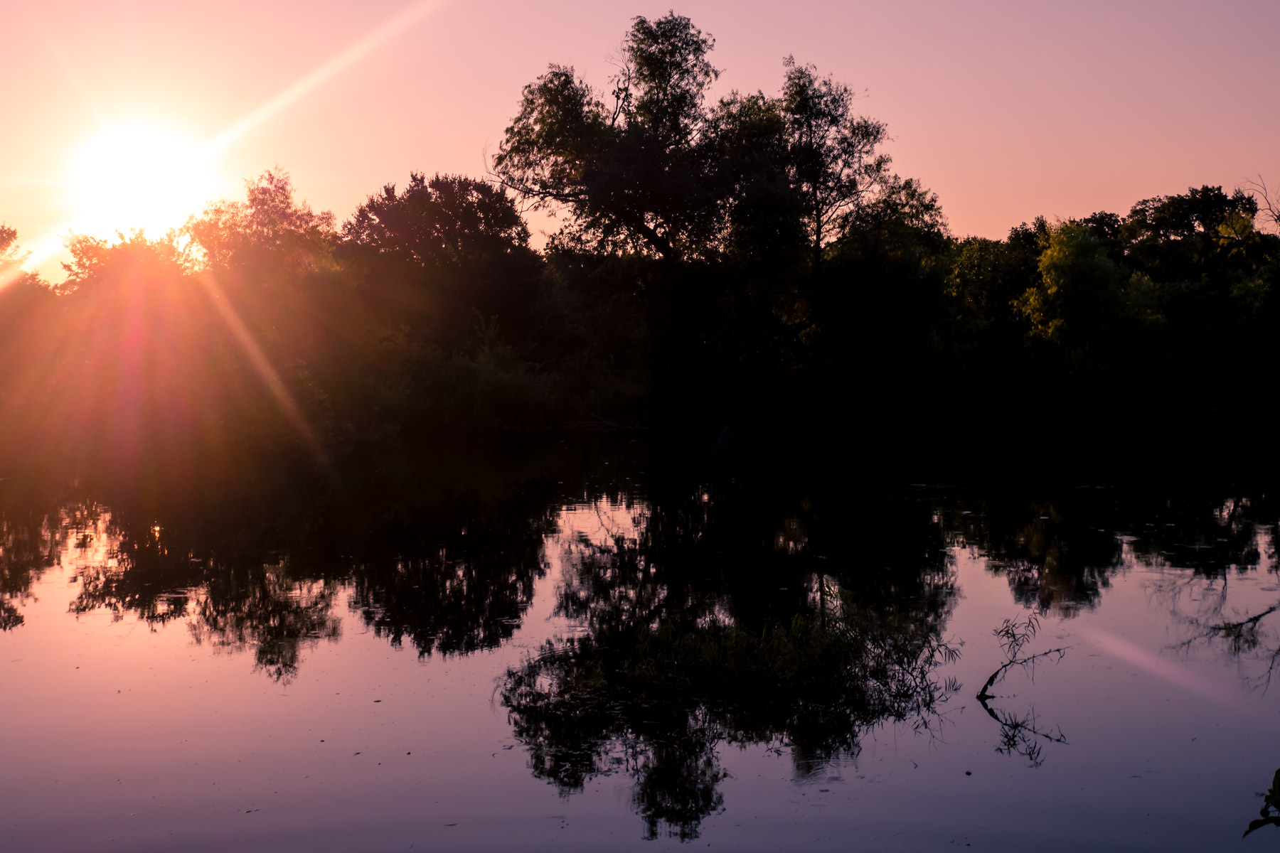 The sun rises over a pond at the Arbor Hills Nature Preserve in Plano, Texas.