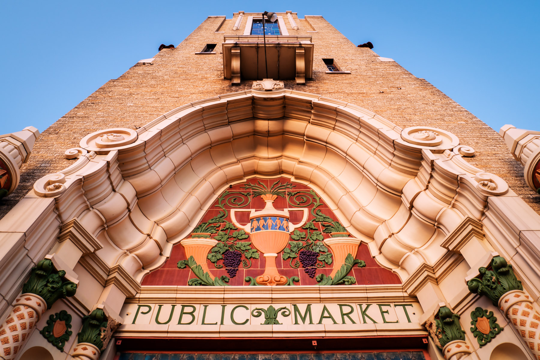 The ornate and colorful facade of the disused Public Market Building in Fort Worth, Texas.
