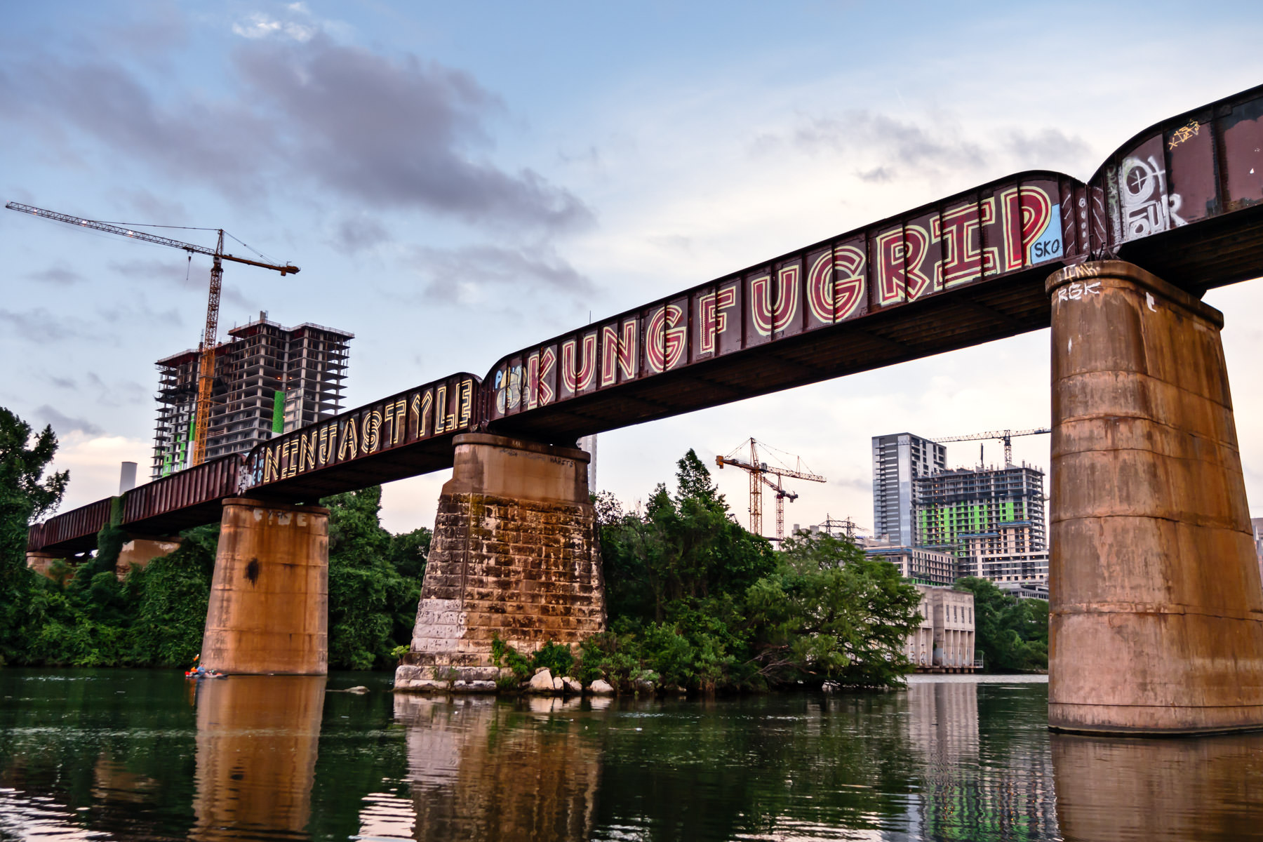The Missouri-Pacific/Union Pacific Railroad Bridge—built in 1902—spans Lady Bird Lake on the south side of Downtown Austin, Texas.