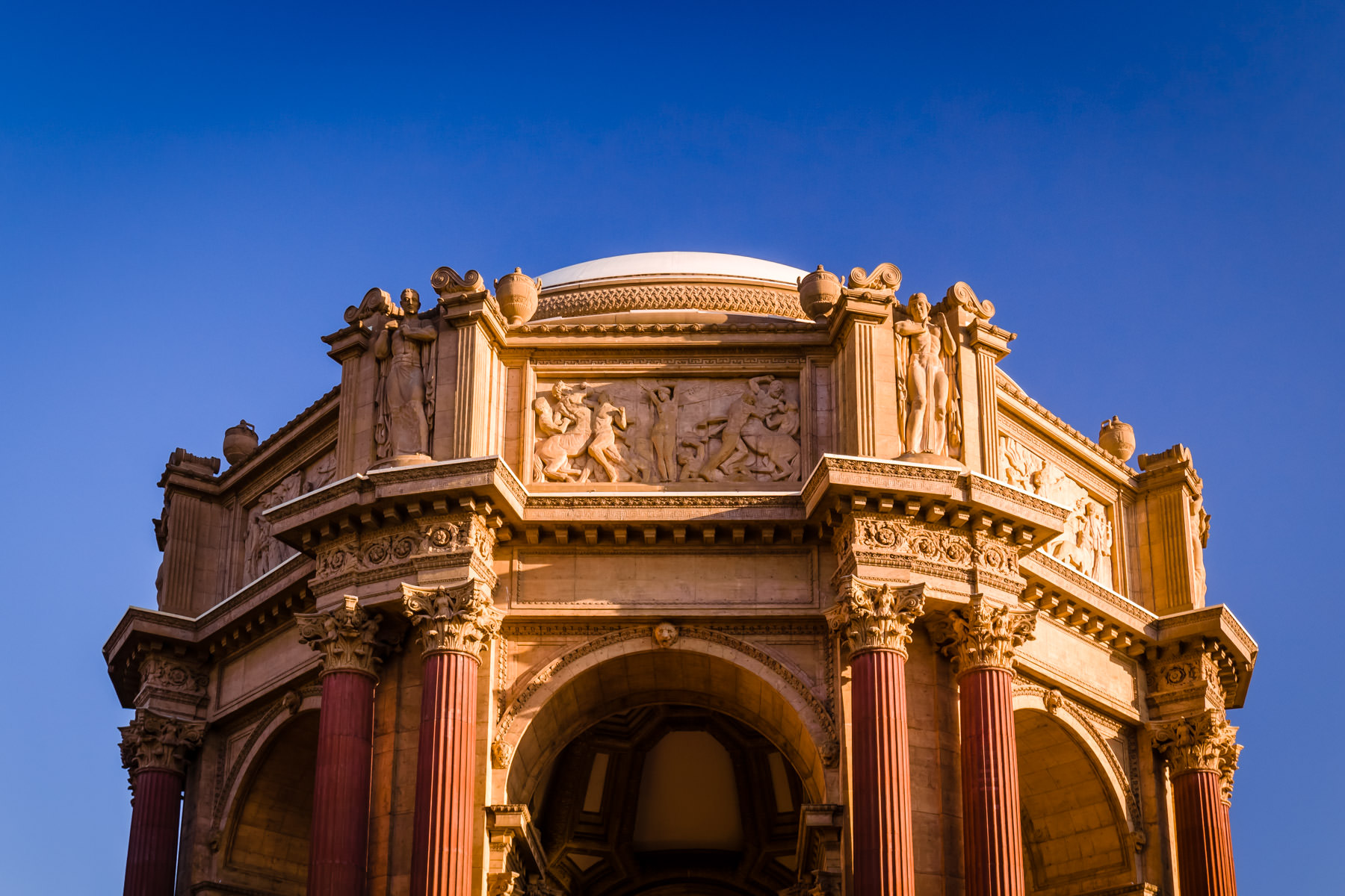 The rotunda of San Francisco's Palace of Fine Arts rises into the early-morning sky.