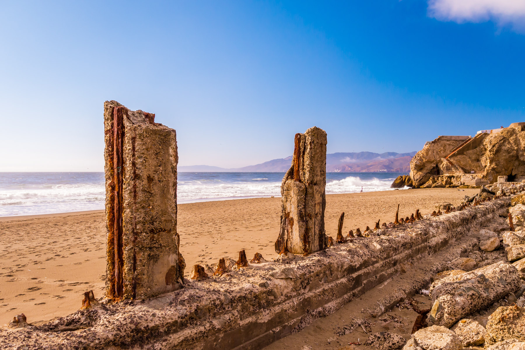The ruins of San Francisco's Sutro Baths, once the world's largest indoor swimming pool, lie along the beach at Lands End.