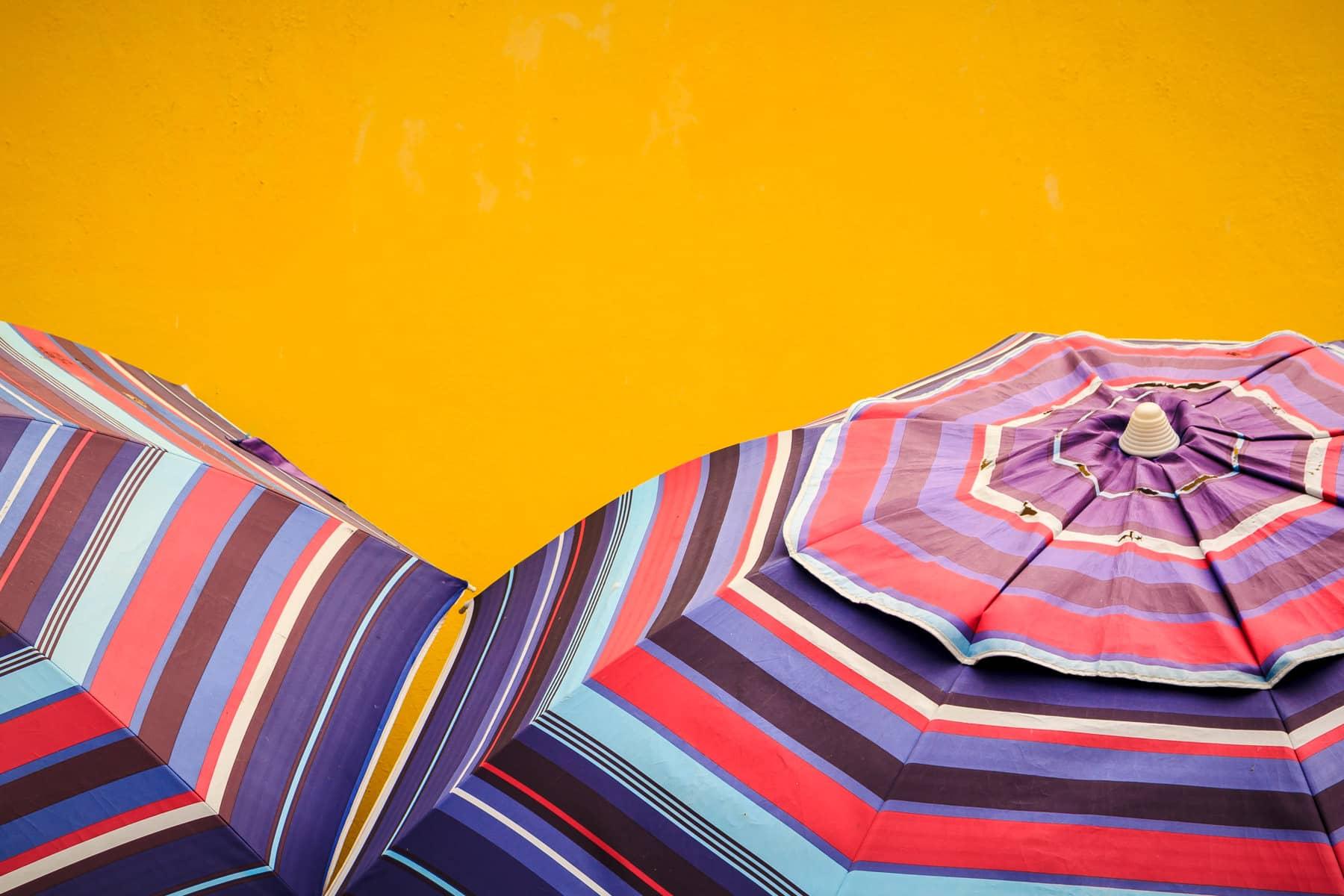Multi-colored umbrellas spotted in Cozumel, Mexico.