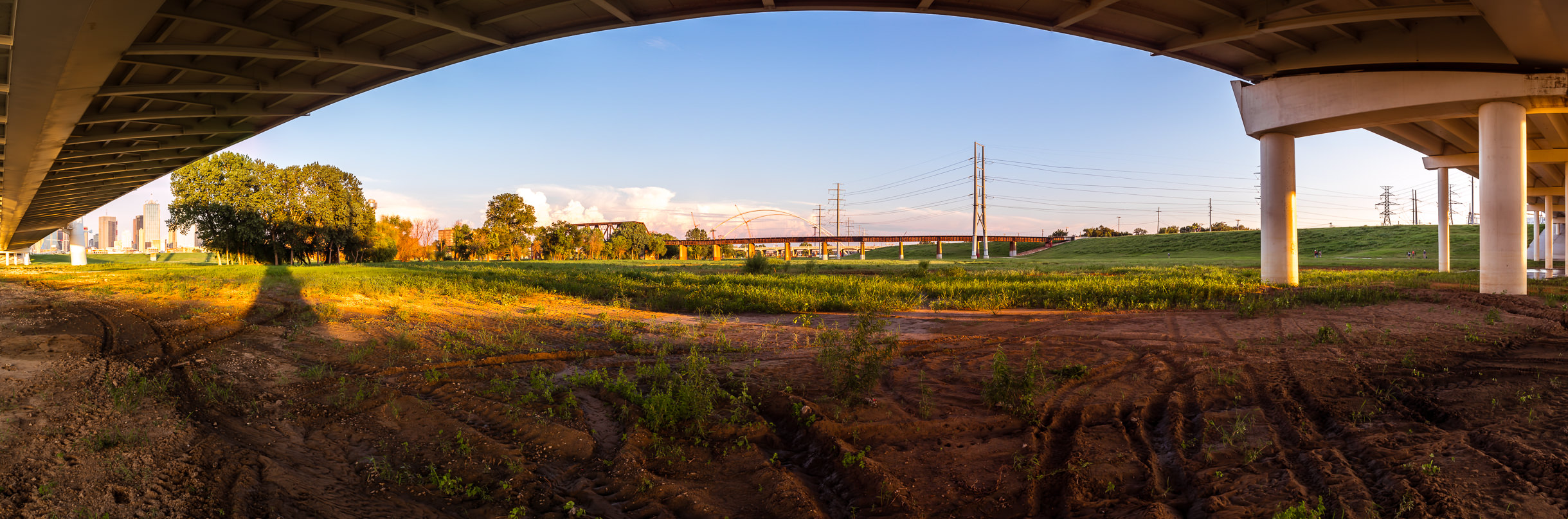 A panoramic view of the Trinity River floodplain as seen from under Dallas' Margaret Hunt Hill Bridge.
