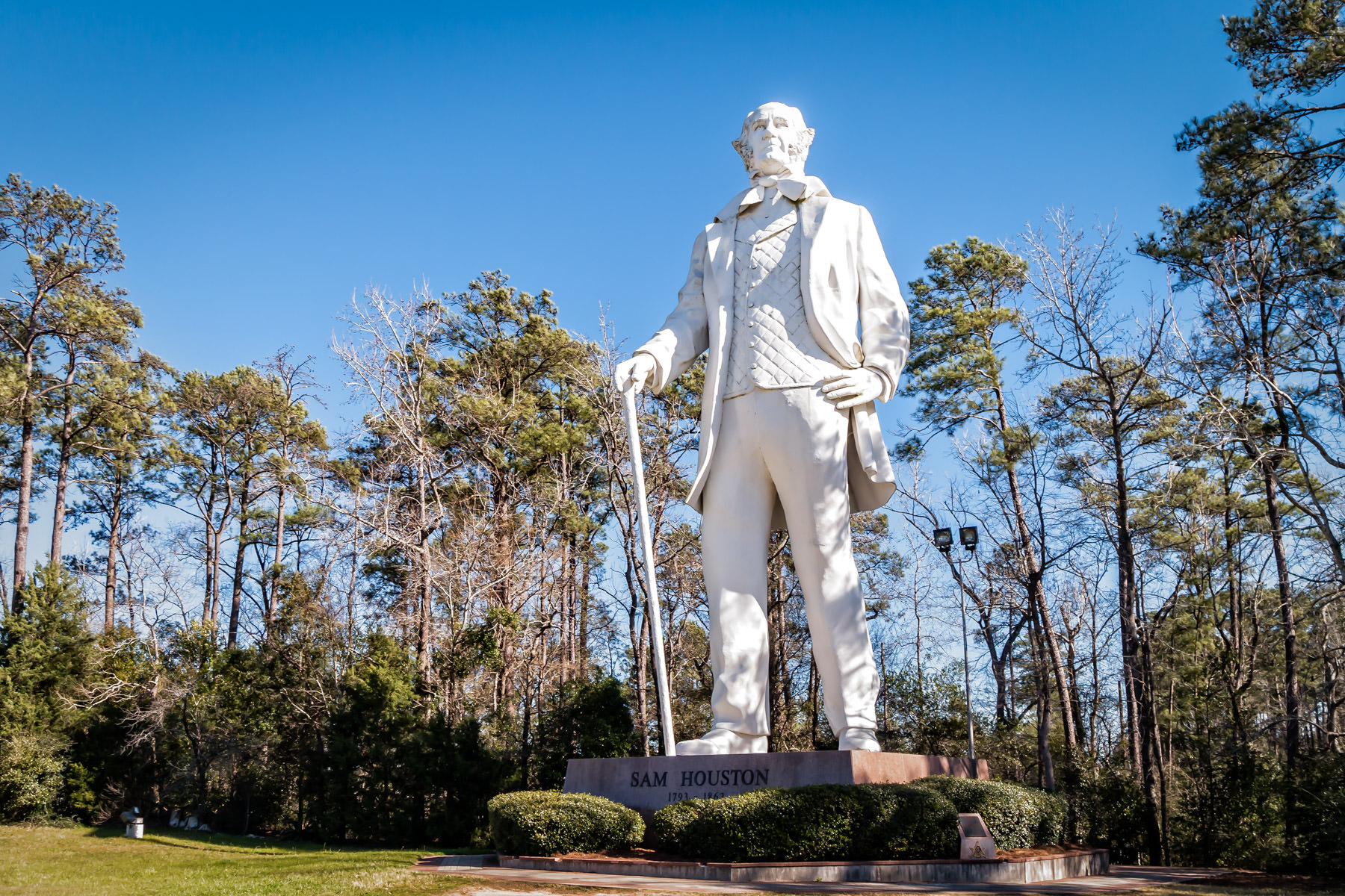 This 67-foot-tall statue of the first (and third) President of the Republic of Texas, Sam Houston, rises into the sky in Huntsville.